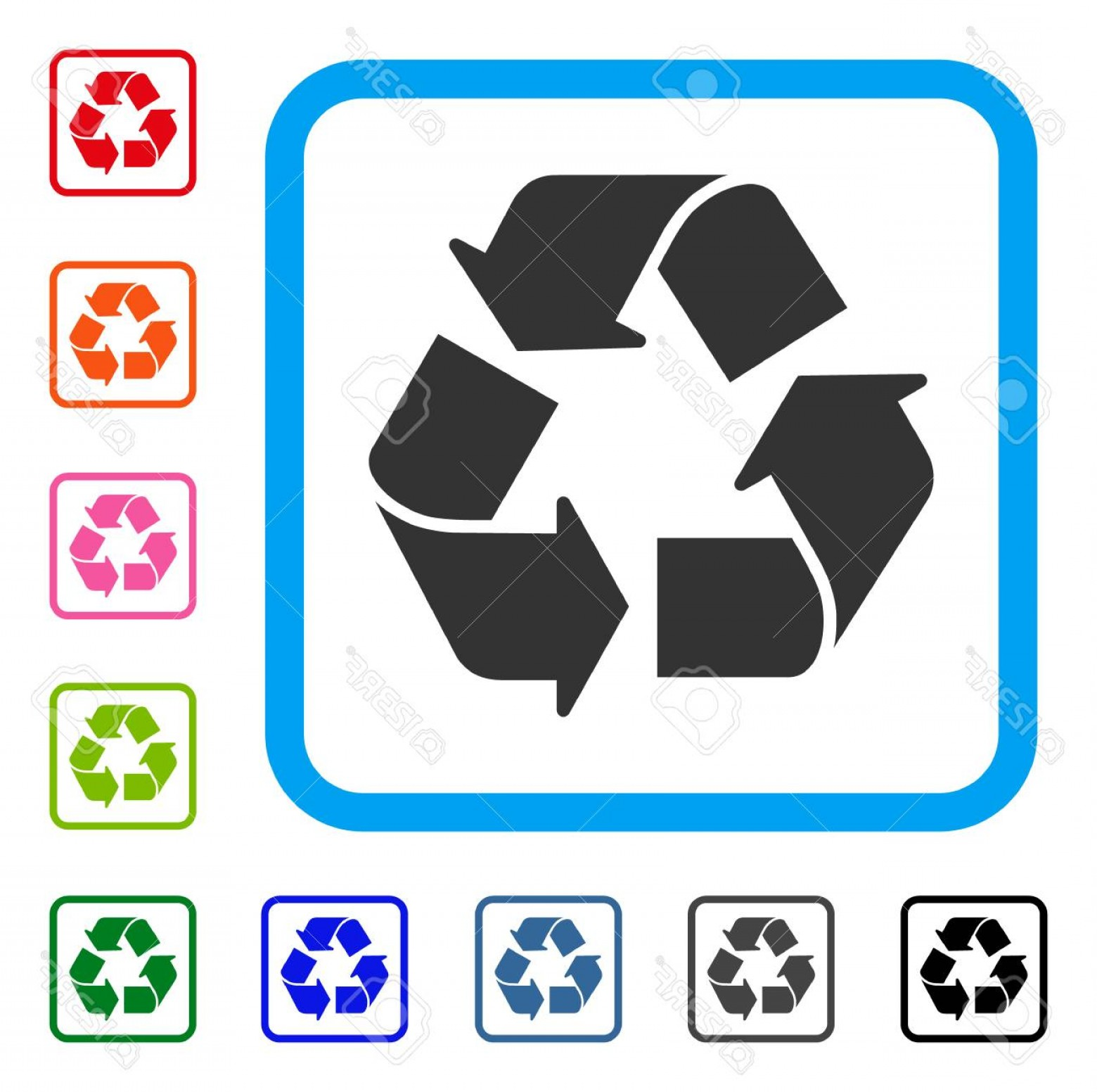 Recycle Icon Vector Red: Photostock Vector Recycle Icon Flat Grey Iconic Symbol In A Light Blue Rounded Squared Frame Black Gray Green Blue Red