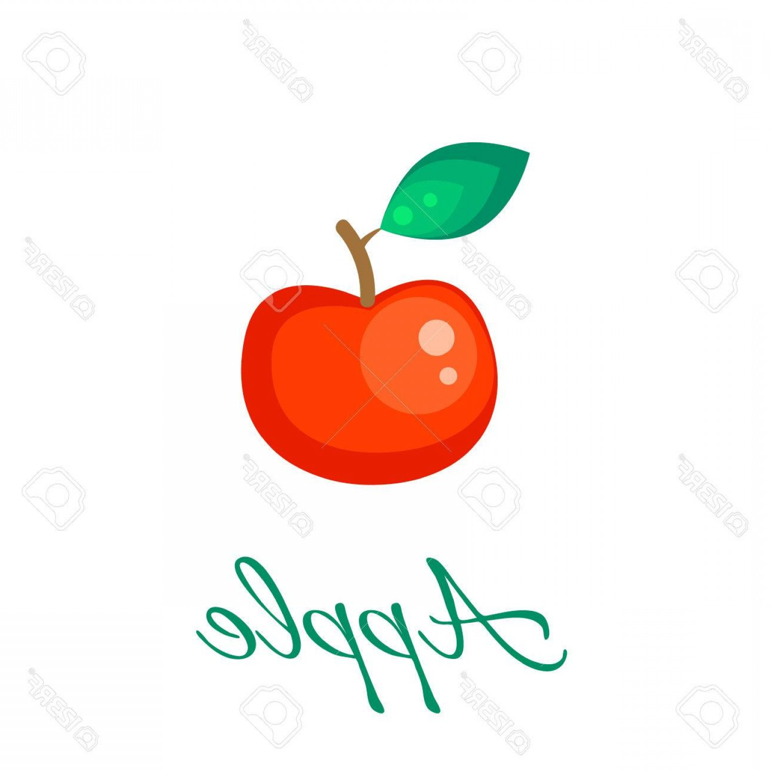 Red Apple Vector Logo: Photostock Vector Red Apple Isolated Vector Icon Apple Fruit On Branch With Leaf Red Apple Logo Apple Juice Or Jam Bra