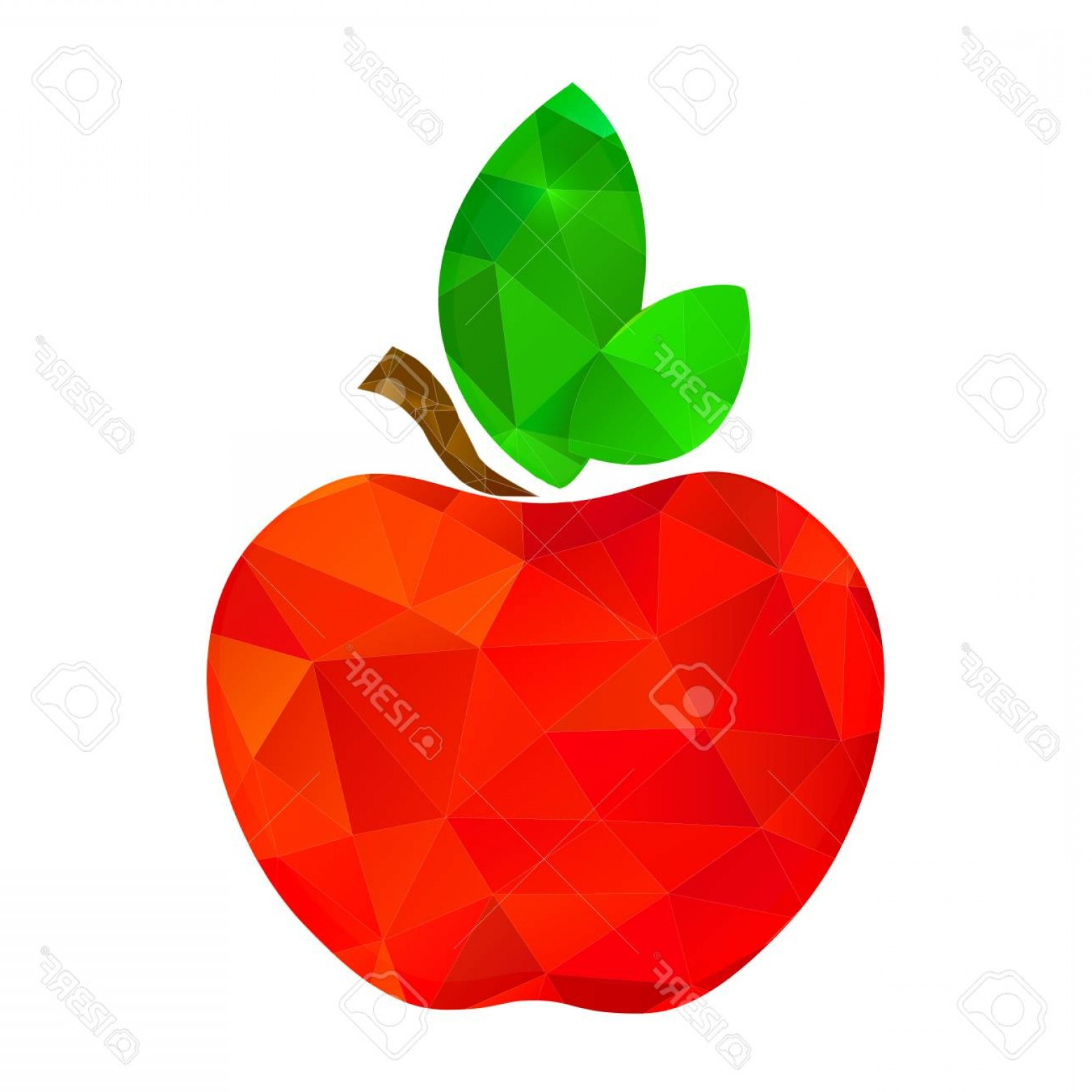 Red Apple Vector Logo: Photostock Vector Red Apple Vector Polygon With Two Green Leaves