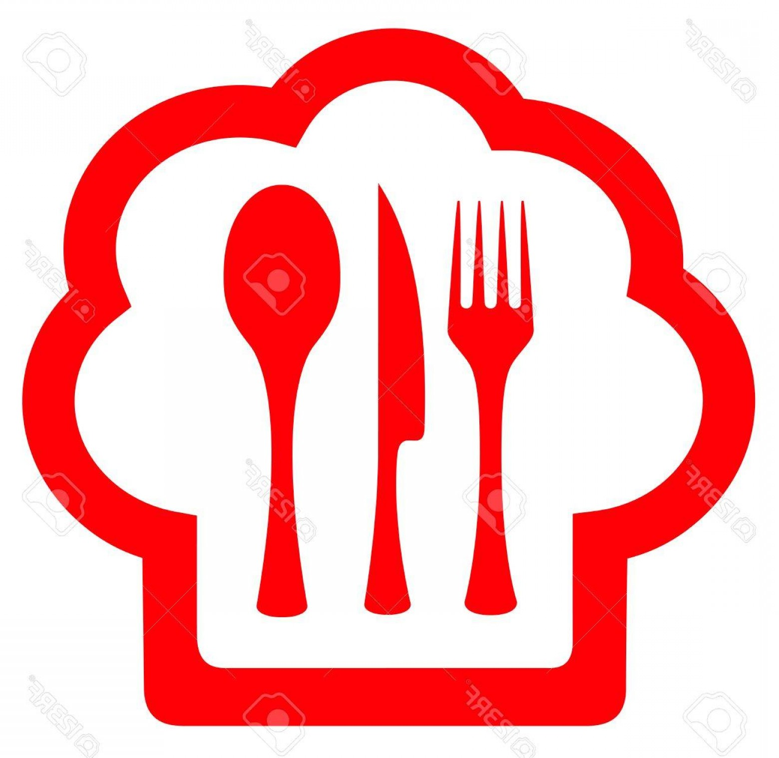 Vector Chef Utensils: Photostock Vector Red Chef Hat With Utensil For Cuisine Cooking