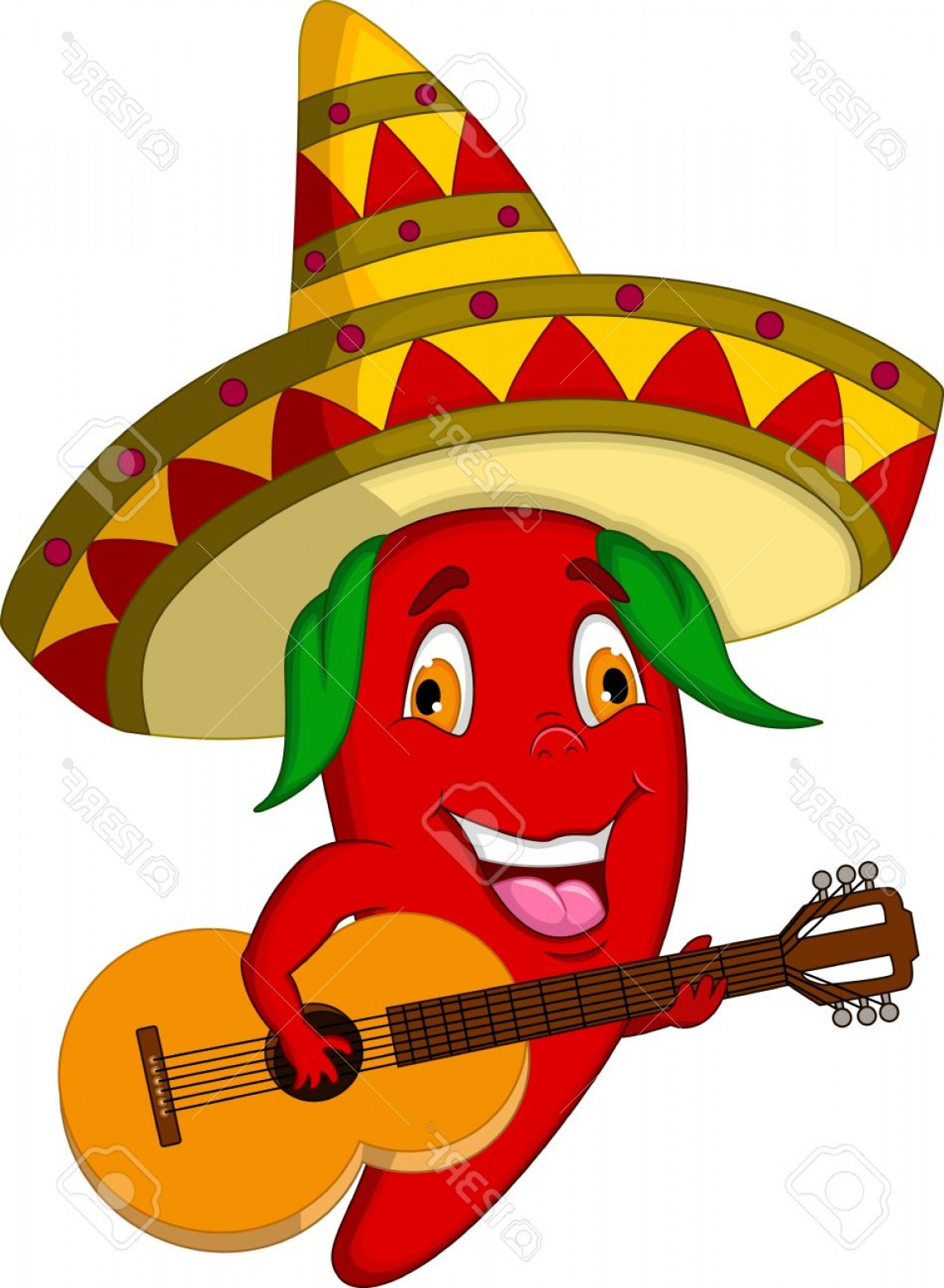 Vector Mexican Chili: Photostock Vector Red Chili Pepper Cartoon Character With Mexican Hat And Mustache Playing A Guitar