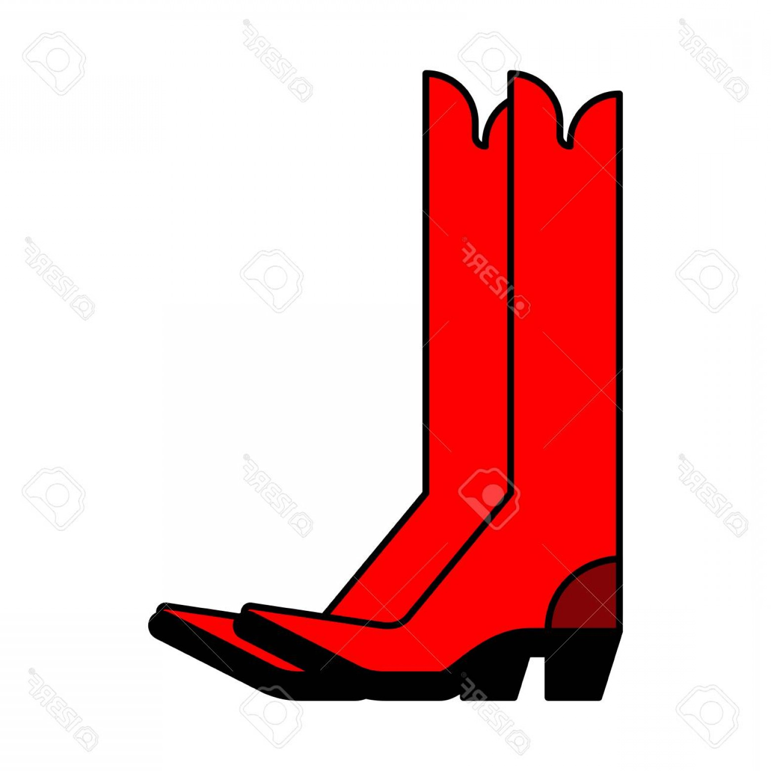 Two Cowgirl Boots Vector: Photostock Vector Red Cowboy Boots Country Style Shoes Vector Illustration