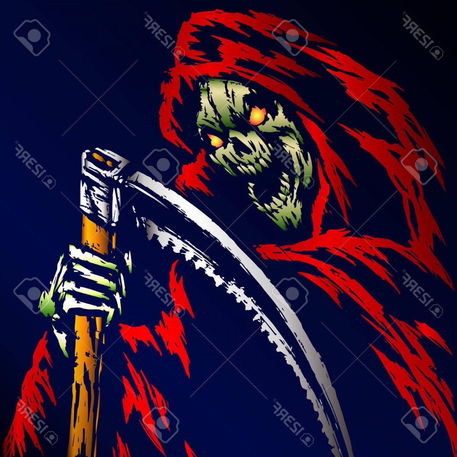 Chewbacca Vector Flat Design: Photostock Vector Red Death With A Scythe Blue Background Web Icon Isolated Flat Vector Illustration Apocalypse Demon