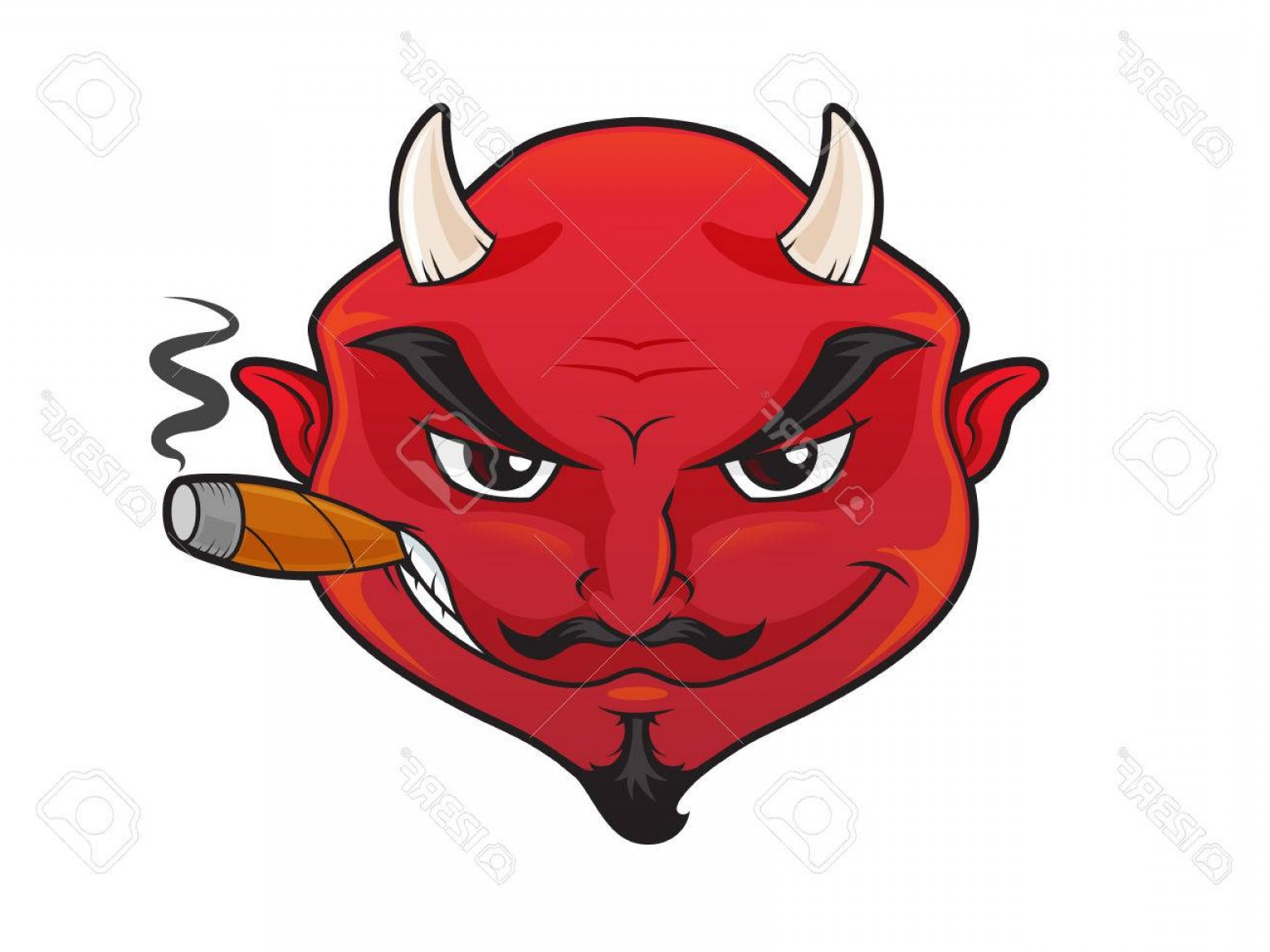 Cigar Cartoon Vector: Photostock Vector Red Devil S Face With Evil Grin Smoking Cigar Cartoon Illustration