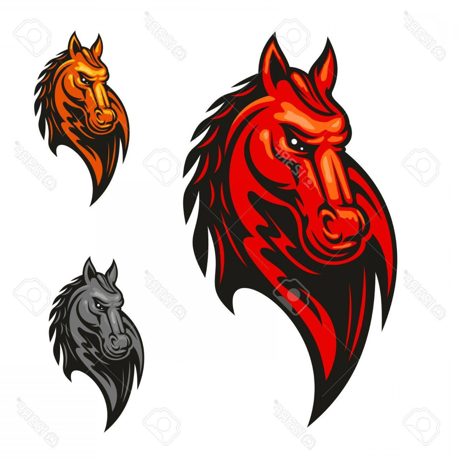 Mad Vector: Photostock Vector Red Flaming Horse Head Mascot With Mad And Powerful Stallion Horse Sporting Competition Badge Or Spo