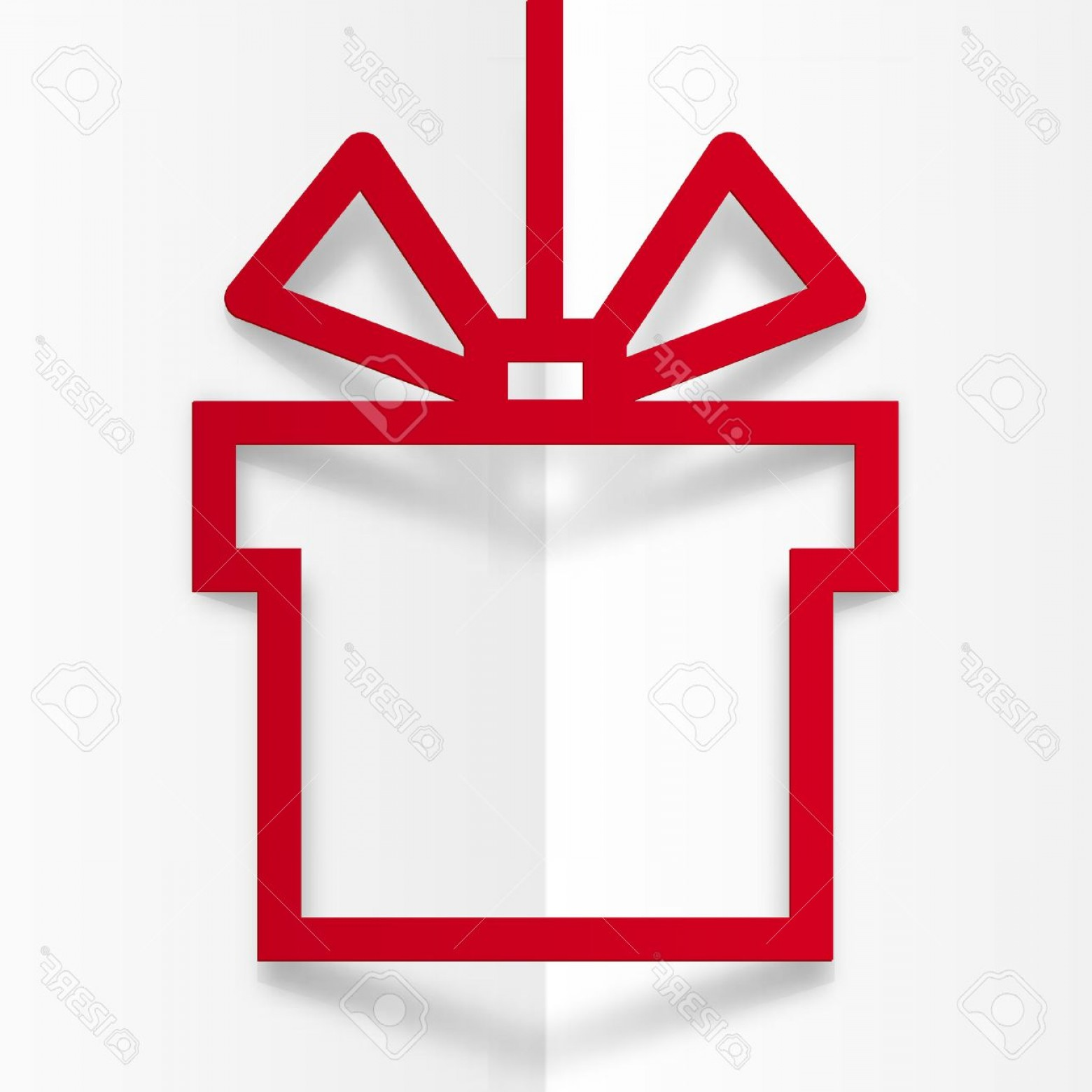 Vector Frame Gift: Photostock Vector Red Gift Box Silhouette Vector Frame With Stylized Bow