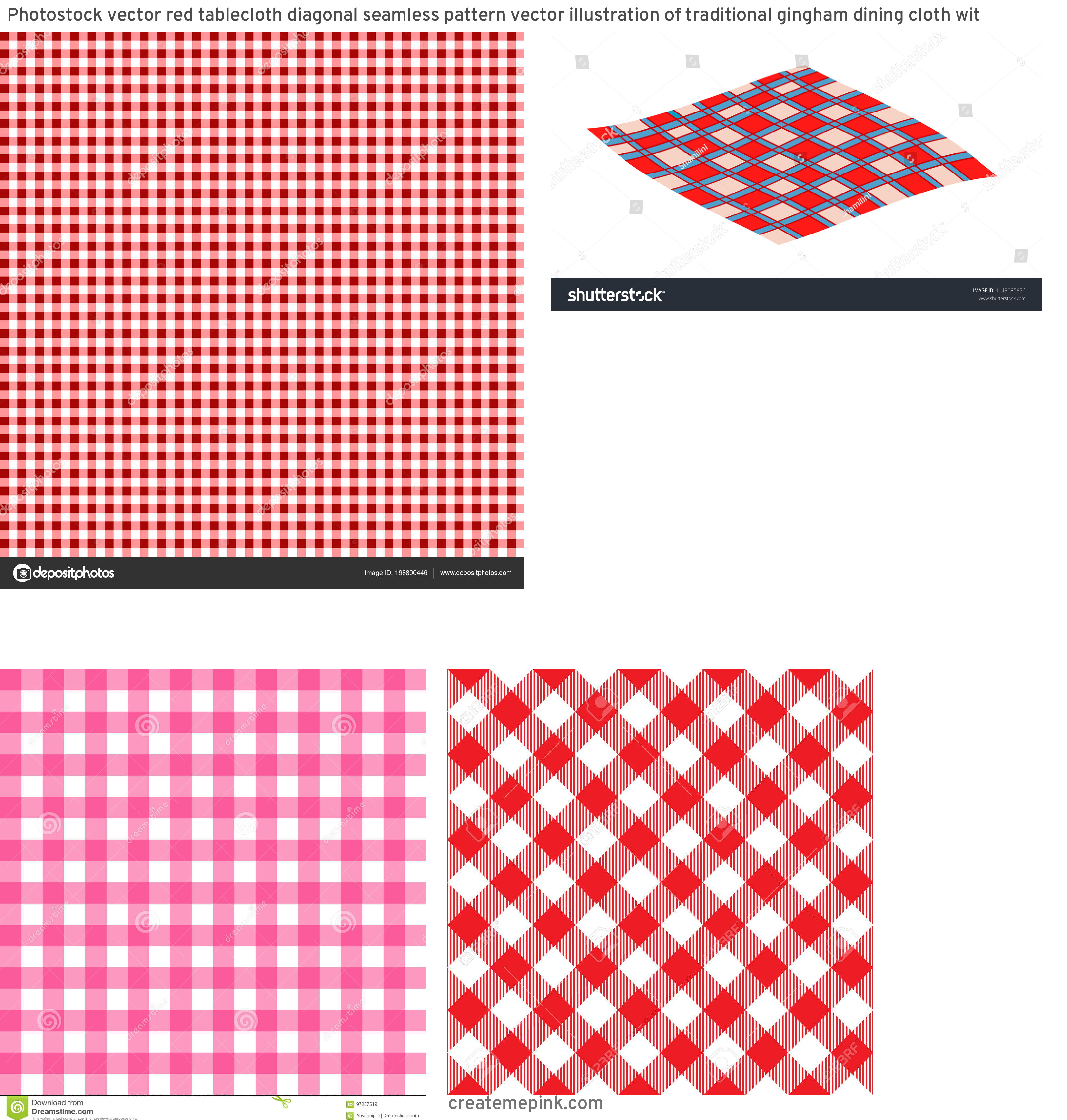 Picnic Cloth Vector: Photostock Vector Red Tablecloth Diagonal Seamless Pattern Vector Illustration Of Traditional Gingham Dining Cloth Wit