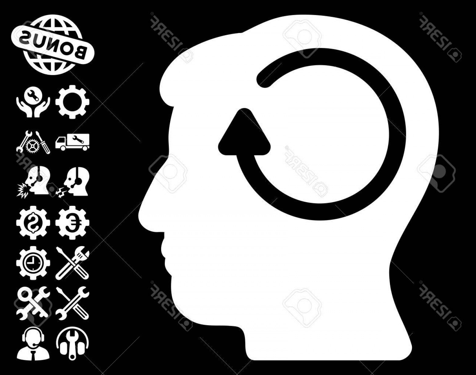Vector Configuration: Photostock Vector Refresh Head Memory Icon With Bonus Configuration Images Vector Illustration Style Is Flat Iconic Sy