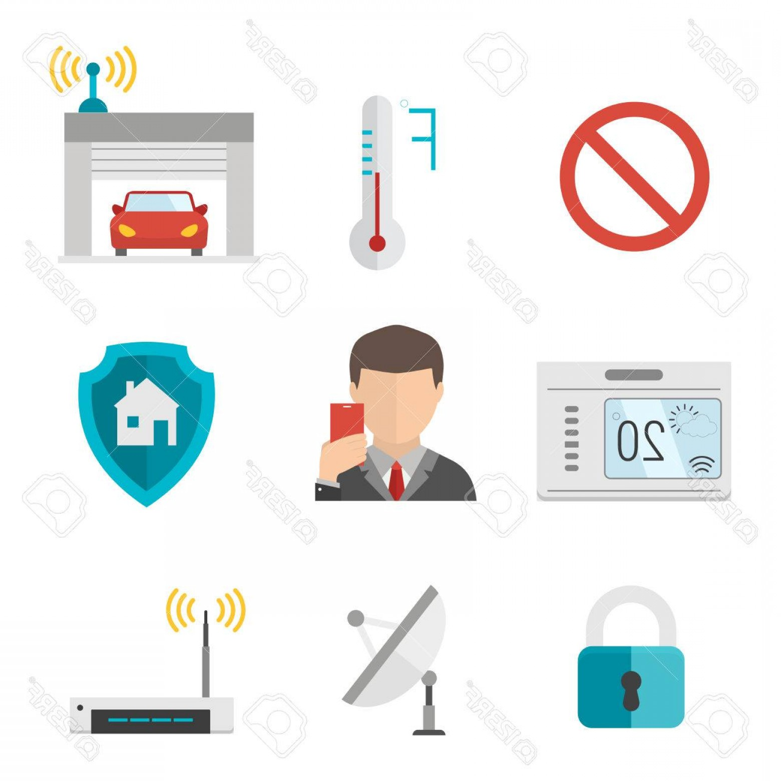 Smart Home Remote Vector: Photostock Vector Remote Home Control System Smart House Vector Illustration Icons Remote Control Smart Home Concept S