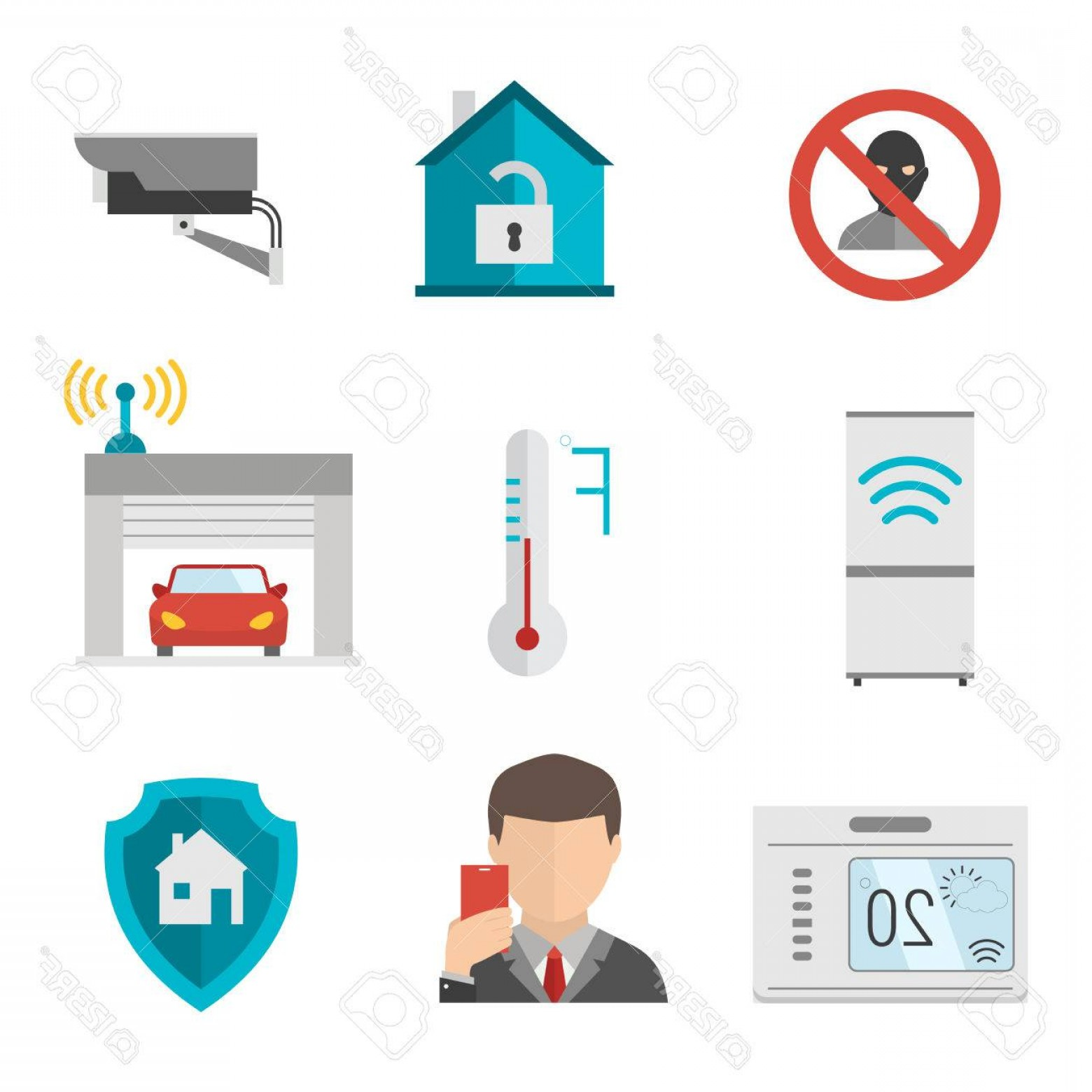 Smart Home Remote Vector: Photostock Vector Remote Home Control System Smart House Vector Illustration Smart House Remote Control Smart House Ic