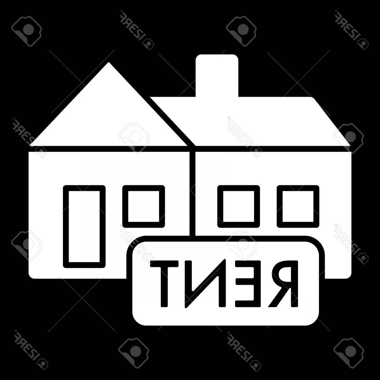 Nameplate Vector Graphics: Photostock Vector Rent Symbol Simple Vector Icon Black And White Illustration Of Rent Nameplate Solid Linear Real Esta