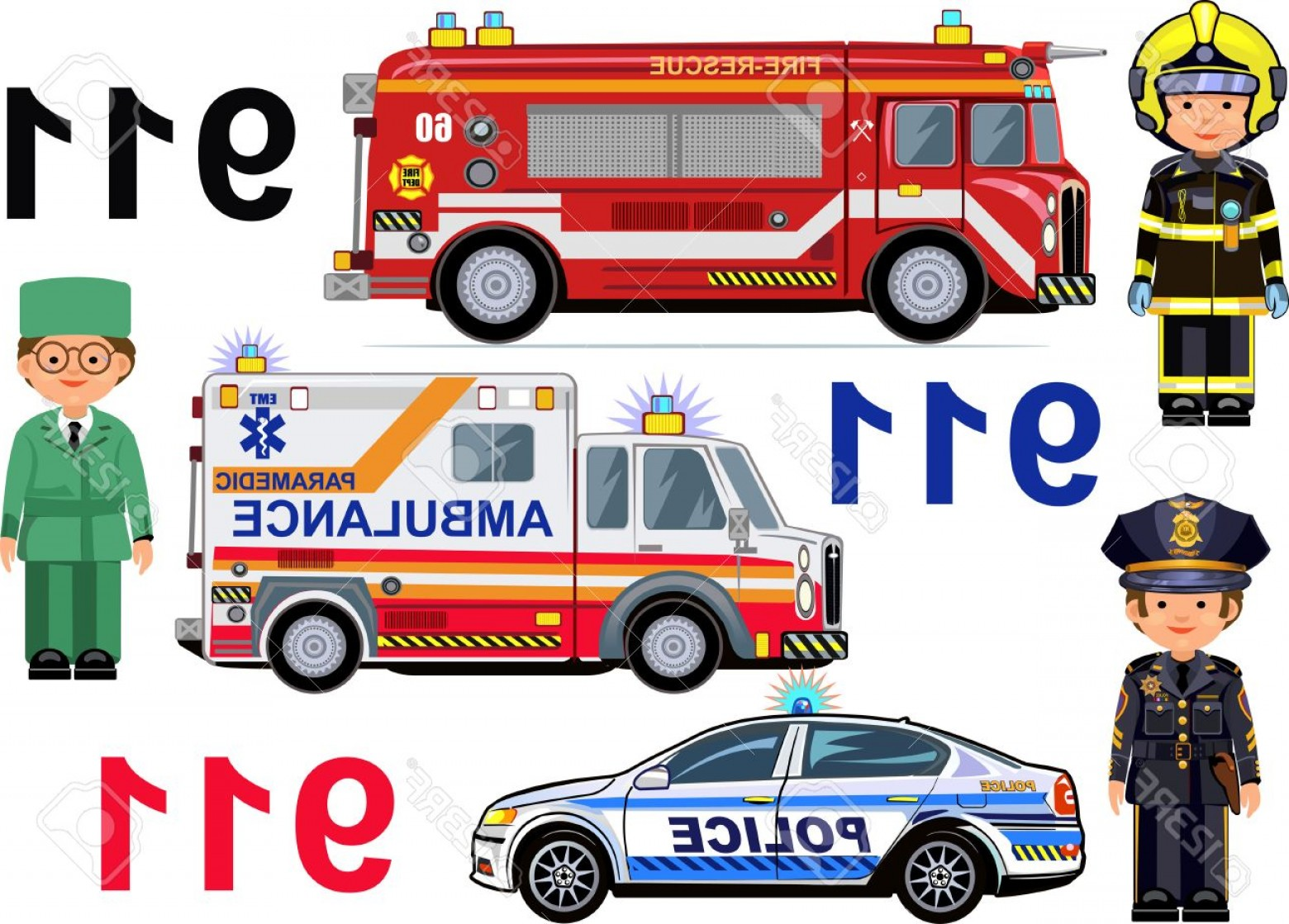 Custom Police Cars Vector: Photostock Vector Rescue Vehicles Fire Engine Ambulance Police Cars Paramedic Firefighter Police Officer
