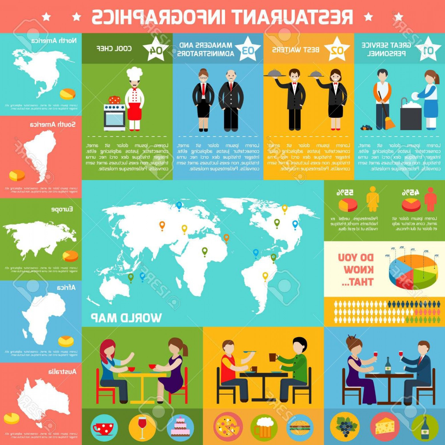45 Pet Vector Map: Photostock Vector Restaurant Infographic Set With Employees Charts And World Map In The Middle Vector Illustration