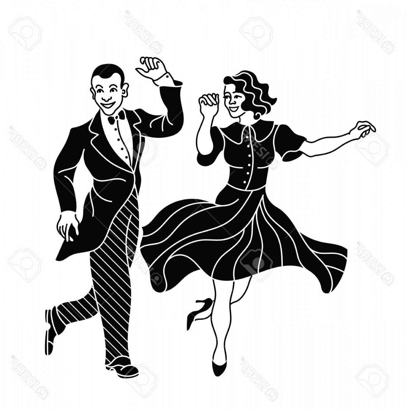 White Retro Vector People: Photostock Vector Retro Dance Couple Silhouette Vintage Silhouette Dancer Charleston Party Dance Vintage People Isolat