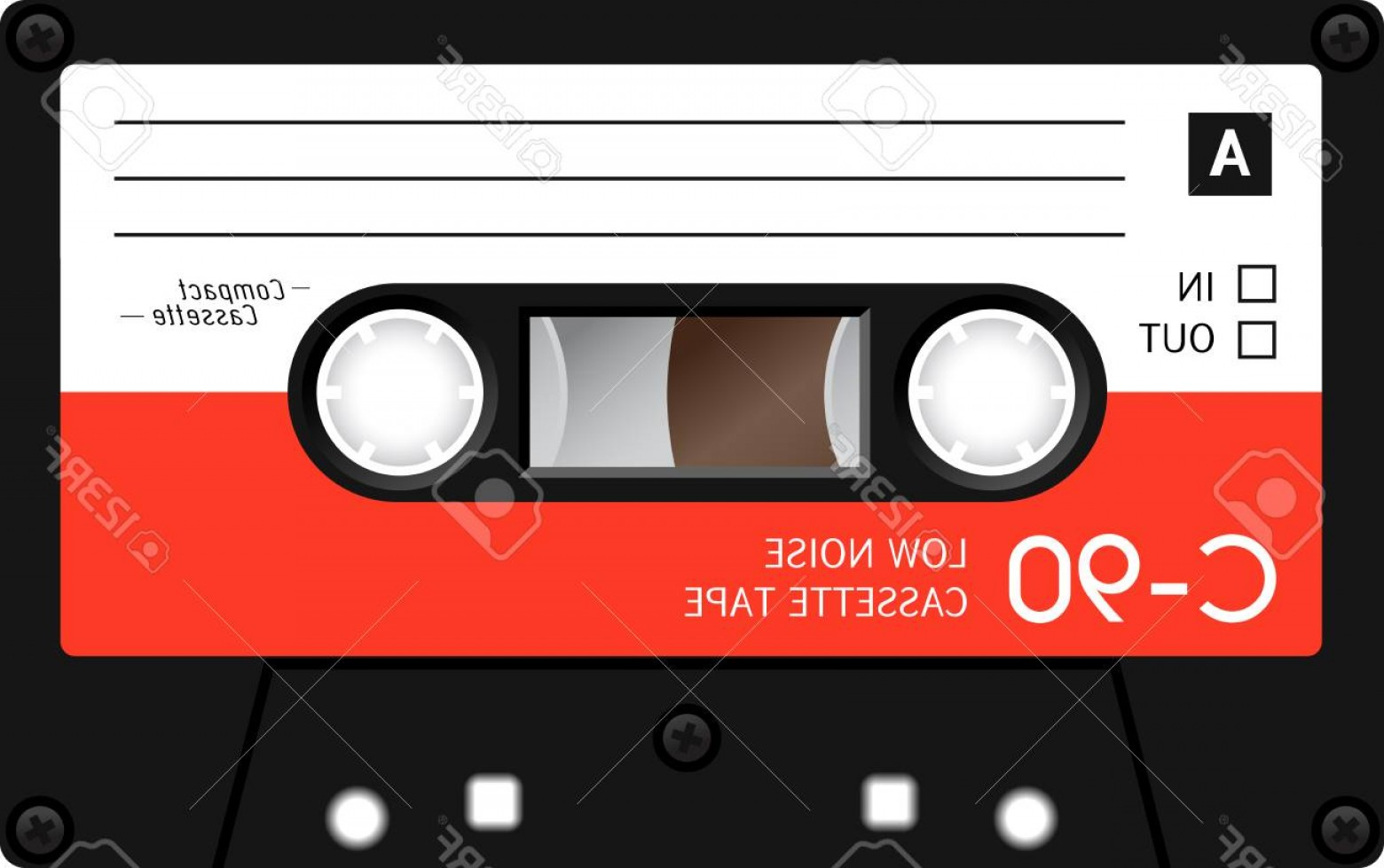 Audio Cassette Vector: Photostock Vector Retro Plastic Audio Cassette Music Cassette Cassette Tape Isolated On White Background Realistic Ill