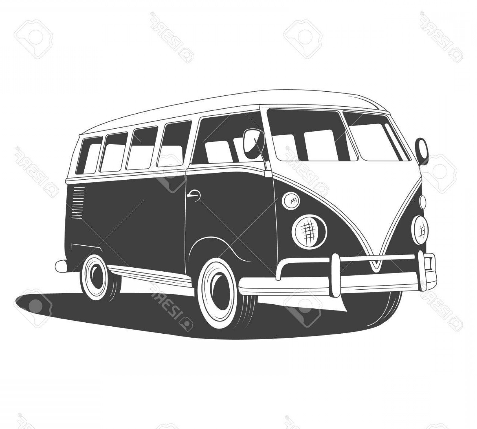 Volkswagen Bus Vector: Photostock Vector Retro Travel Bus With Shadow In Side View Vector Eps Illustration