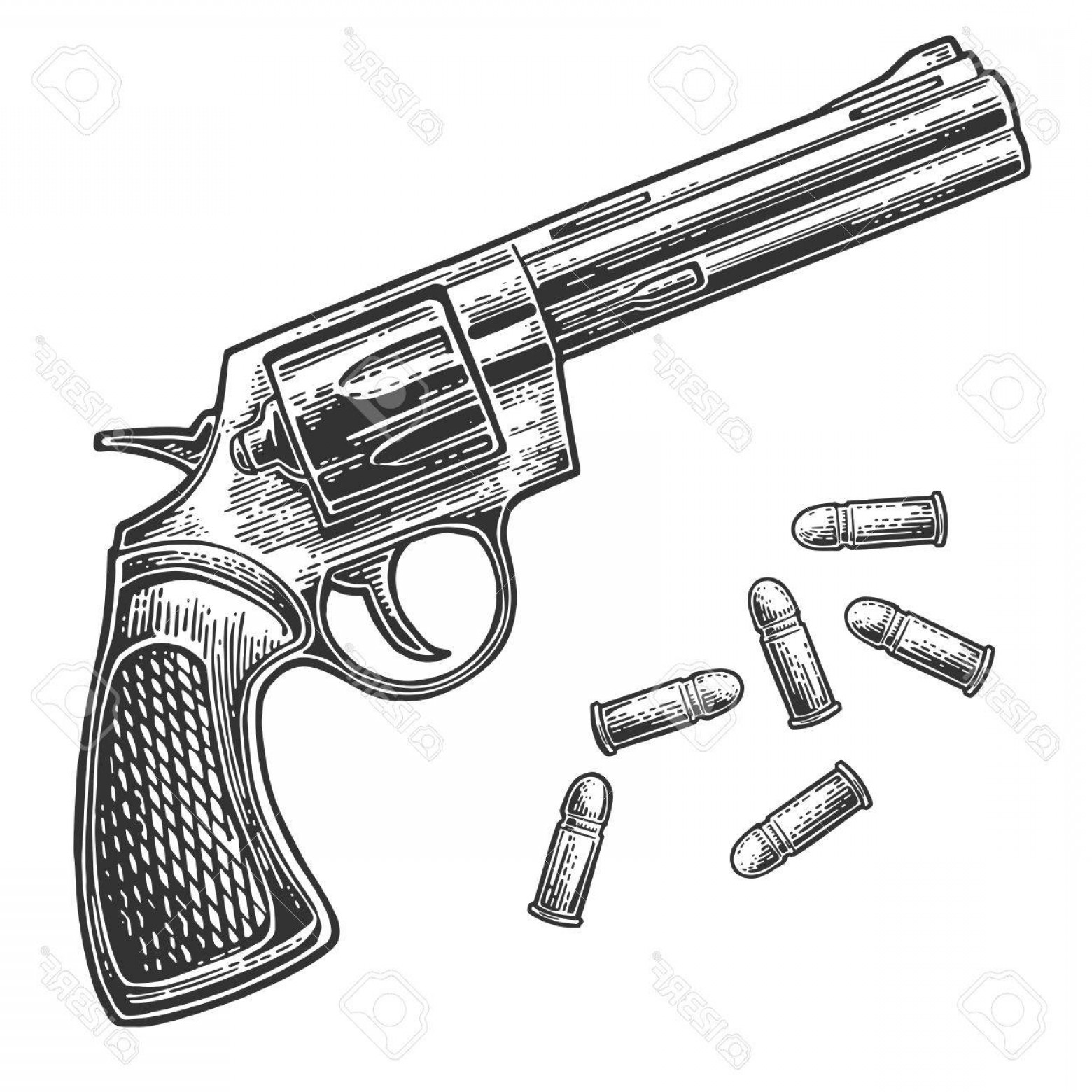 Vector Old Colt Revolvers: Photostock Vector Revolver With Bullets Vector Engraving Vintage Illustrations Isolated On White Background For Tattoo