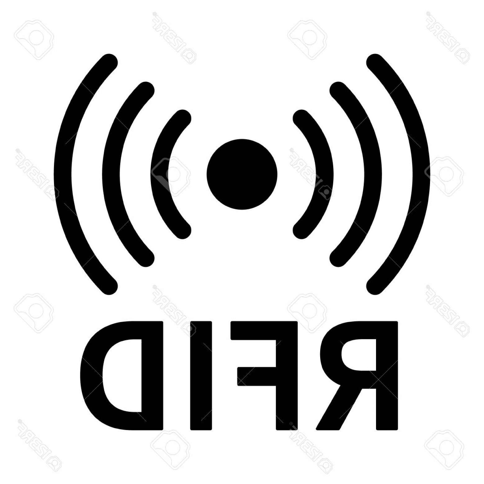 Radio Frequency Vector: Photostock Vector Rfid Or Radio Frequency Identification With Horizontal Radio Waves Line Art Vector Icon For Apps And