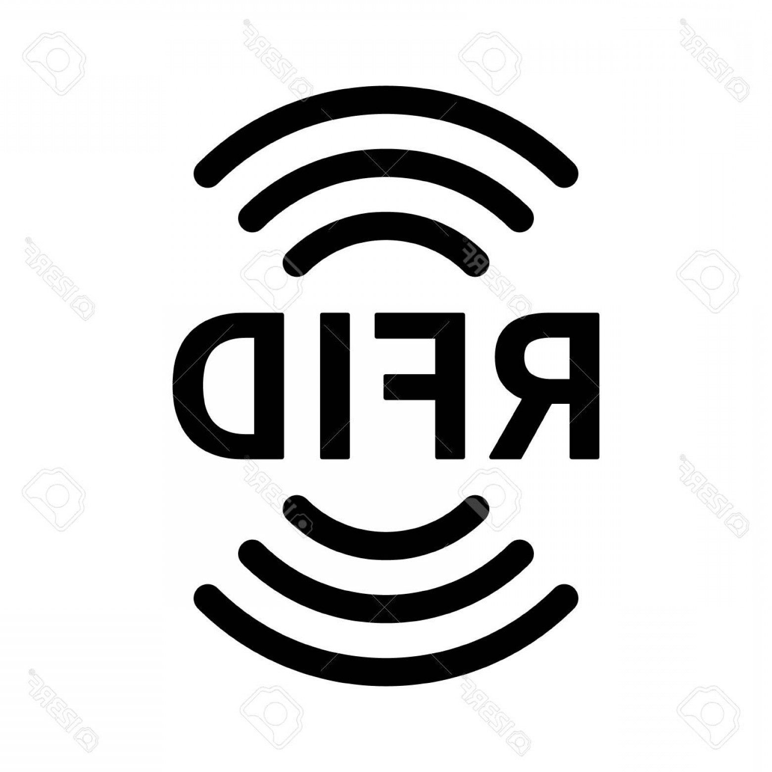 Radio Frequency Vector: Photostock Vector Rfid Or Radio Frequency Identification With Vertical Radio Waves Line Art Vector Icon For Apps And W