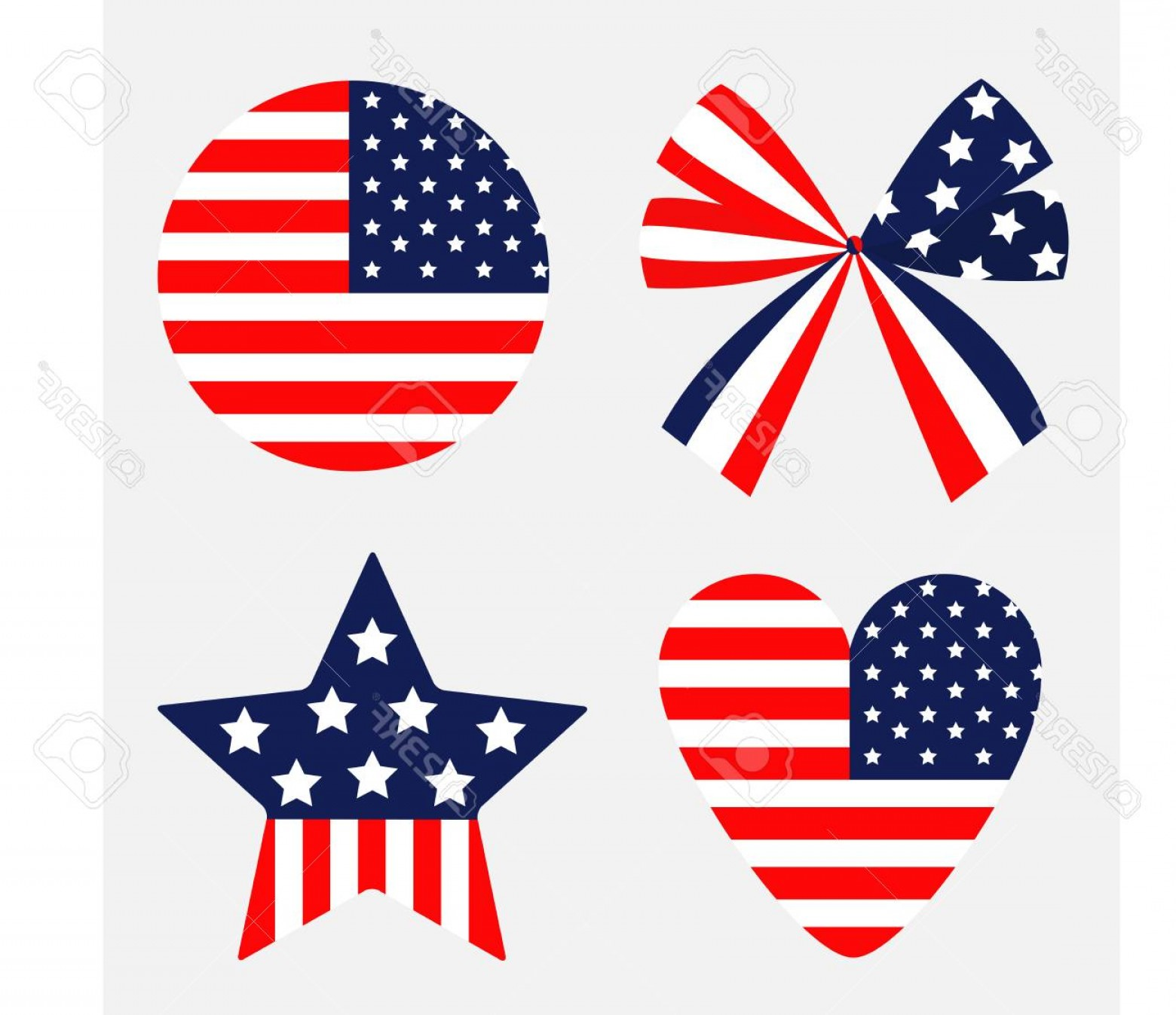 American Flag Stars Only Vector: Photostock Vector Ribbon Bow Shape Round Heart Star American Flag Stars And Strips Icon Isolated Red And Blue Color Wh