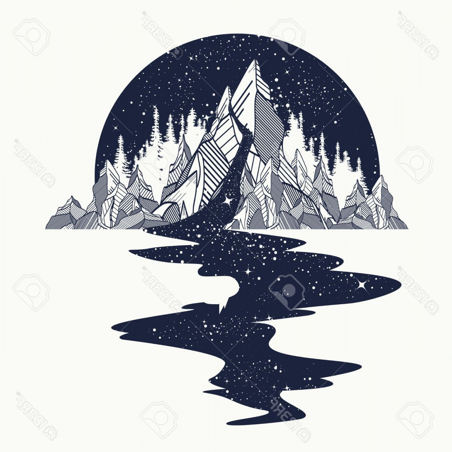River Silhouette Vector Art: Photostock Vector River Of Stars Flows From The Mountains Tattoo Art Infinite Space Meditation Symbols Travel Tourism