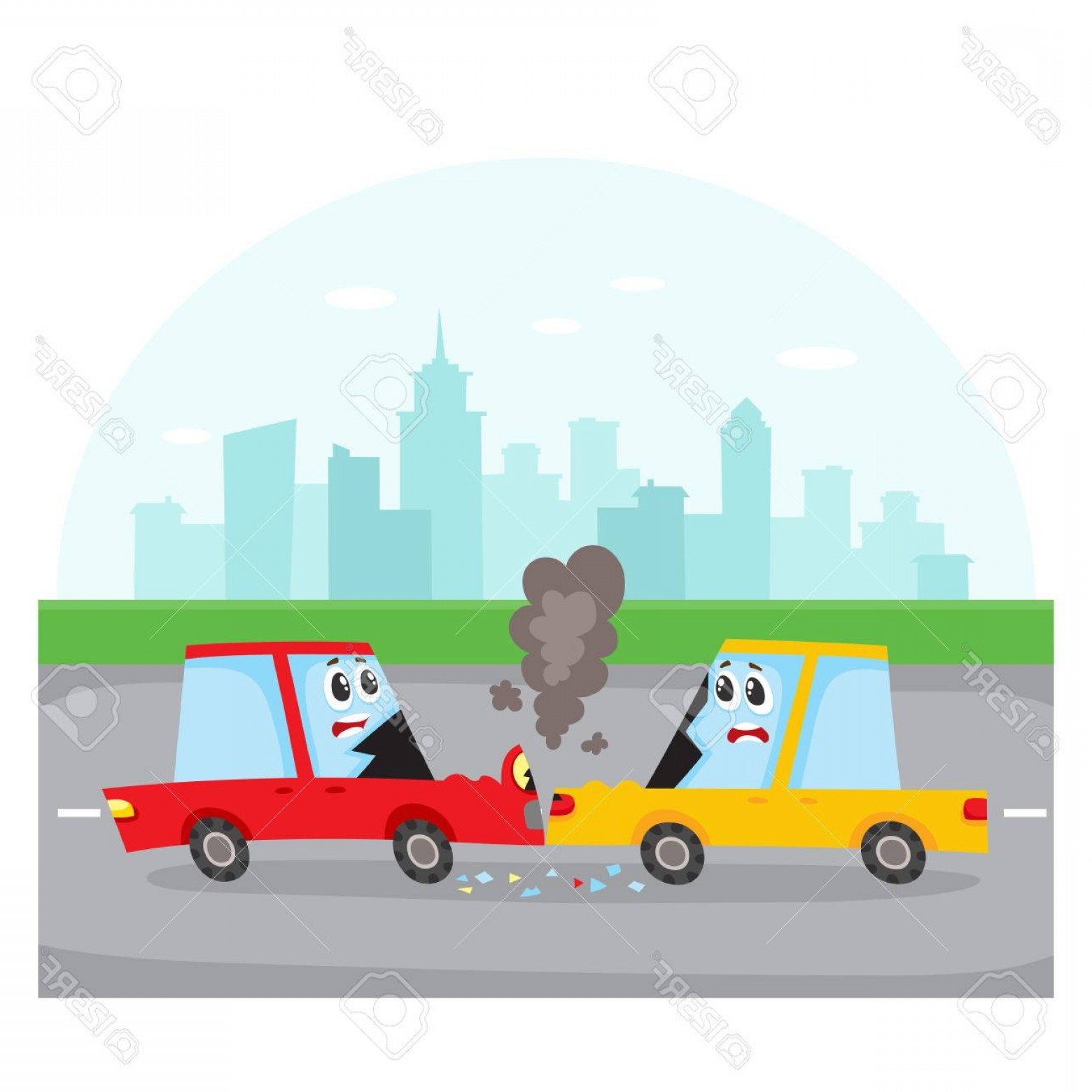 Face Side Pedestrian Vector: Photostock Vector Road Accident Head On Collision On City Street With Car Characters Side View Cartoon Vector Illustra