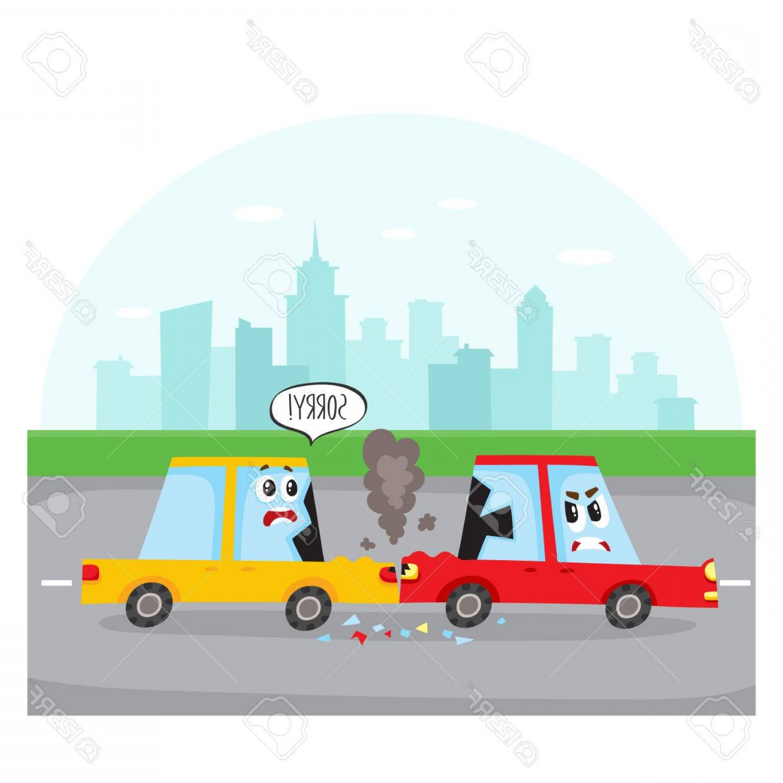 Face Side Pedestrian Vector: Photostock Vector Road Accident Rear End Collision On City Street With Car Characters Side View Cartoon Vector Illustr