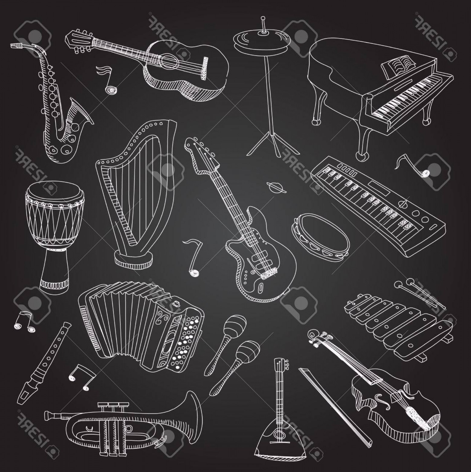 Vector Bass Drum Pedal: Photostock Vector Rock And Pop Music Instruments Guitar Keyboard Synthesizer Drum Pedal Guitar Bass Saxophone Xilophon