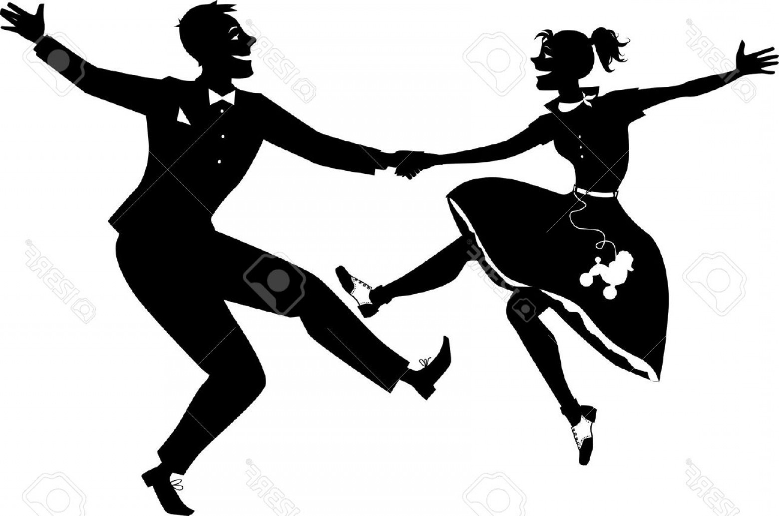 Vector Swing Dancers: Photostock Vector Rock And Roll Dancing Silhouette