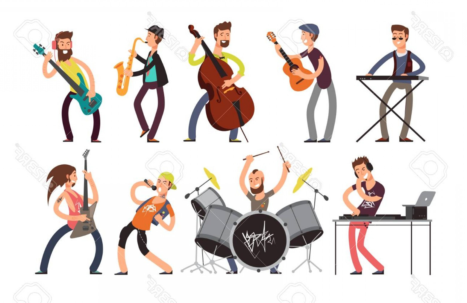 Musician Person Vector: Photostock Vector Rock N Roll Music Band Vector Characters With Musical Instruments Musicians Playing Music