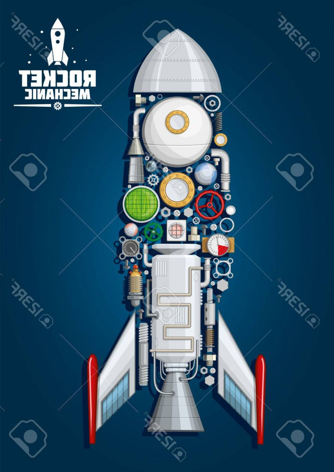 Vector Systems Fins: Photostock Vector Rocket Mechanics Symbol Of Modern Spaceship With Detailed Engine Parts And Body Structure Such As No