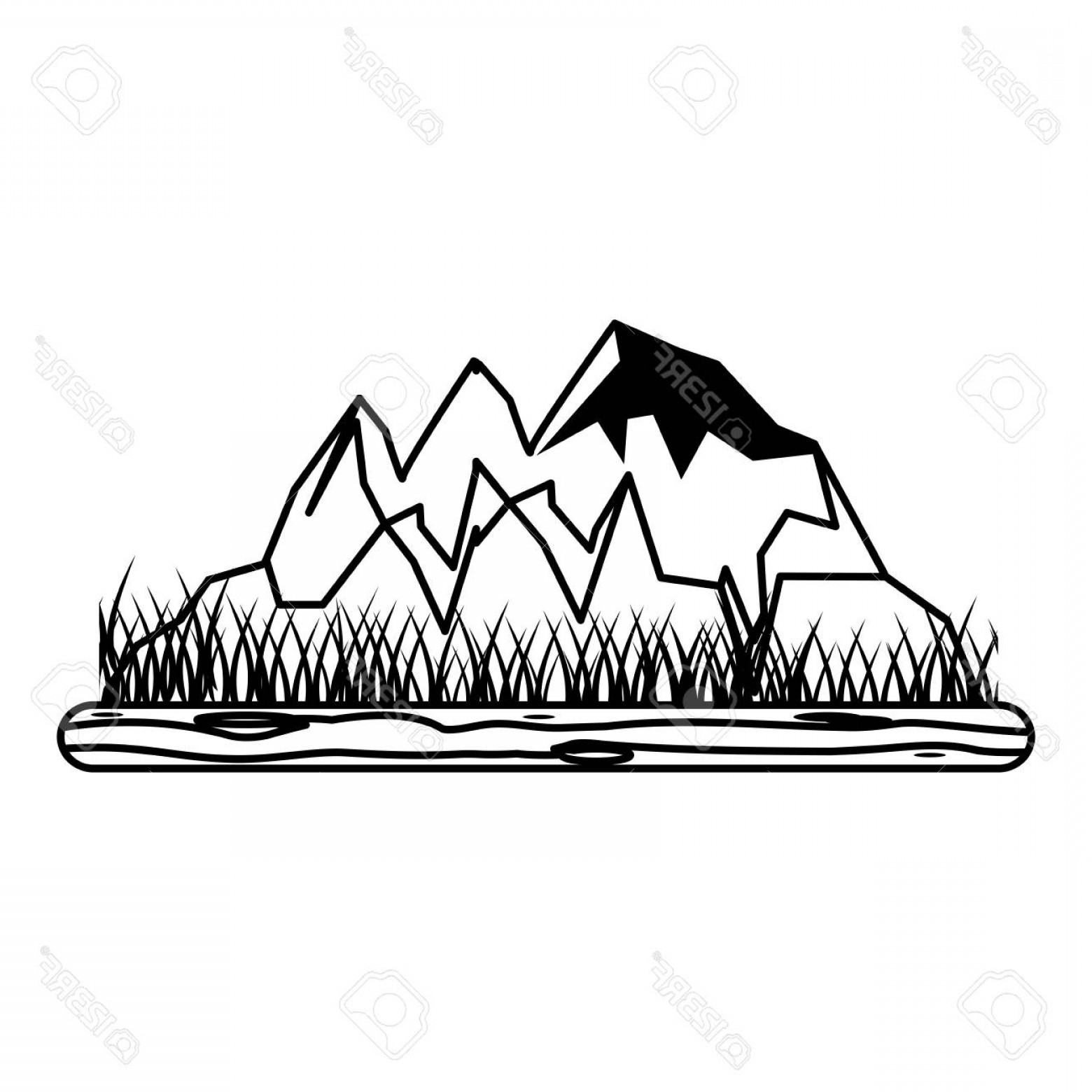 Rocky Mountain Line Art Vector: Photostock Vector Rocky Mountain With Snow And Grass Icon Image Vector Illustration Design Black And White
