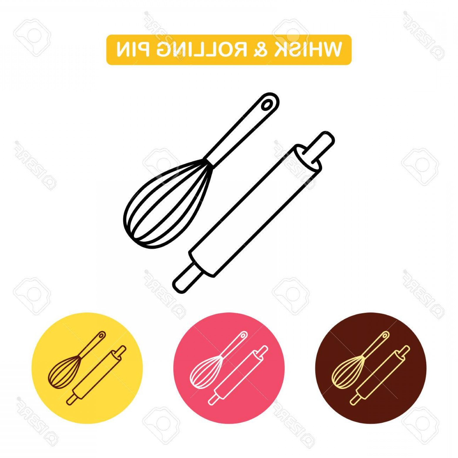 Kitchen Whisk Vector: Photostock Vector Rolling Pin With Whisk Icon Kitchen And Bakery Tools Image Outline Vector Logo Illustration Trendy V
