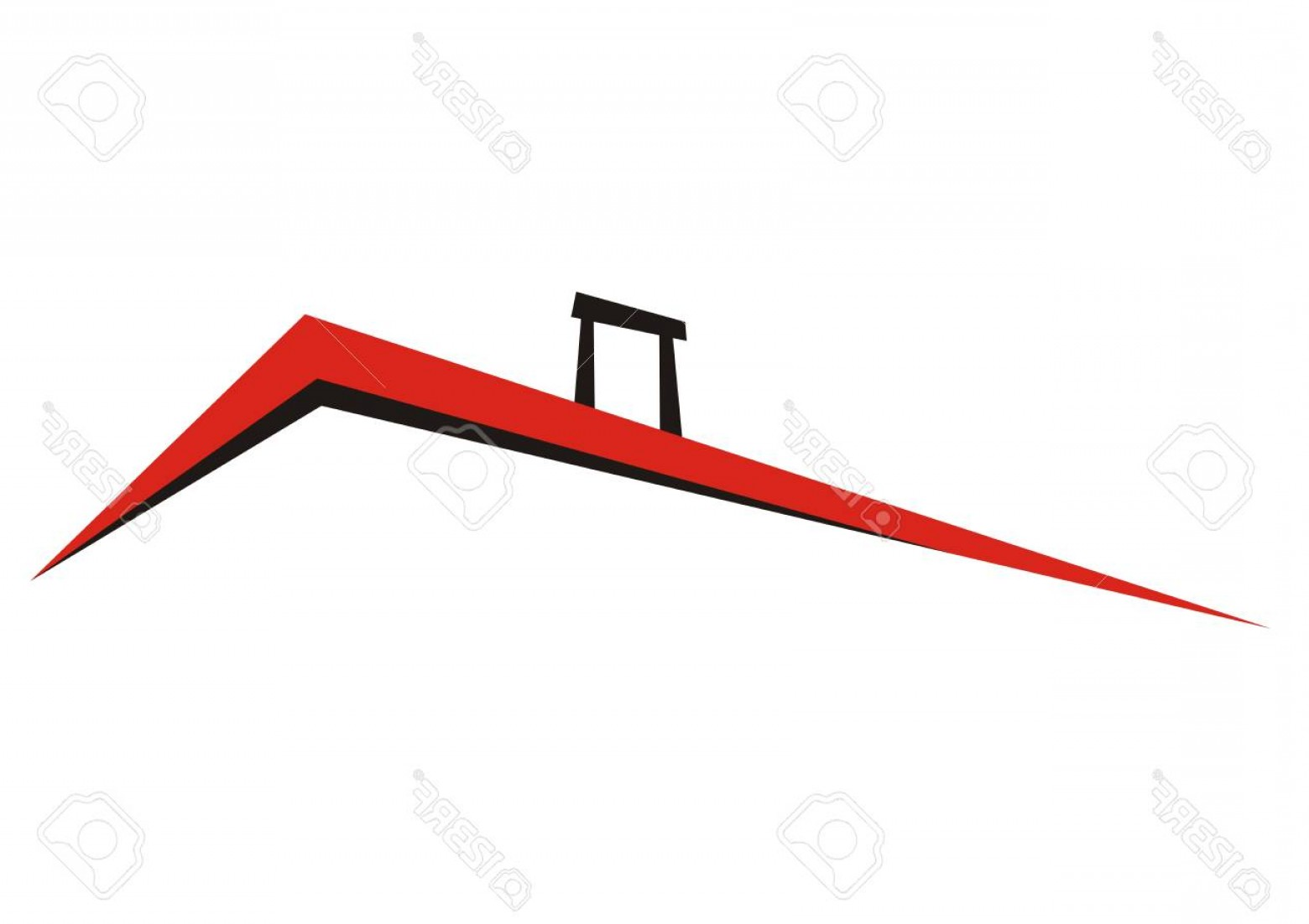 Vector Smokestack: Photostock Vector Roof With Smokestack Vector Icon Red And Black Sketch