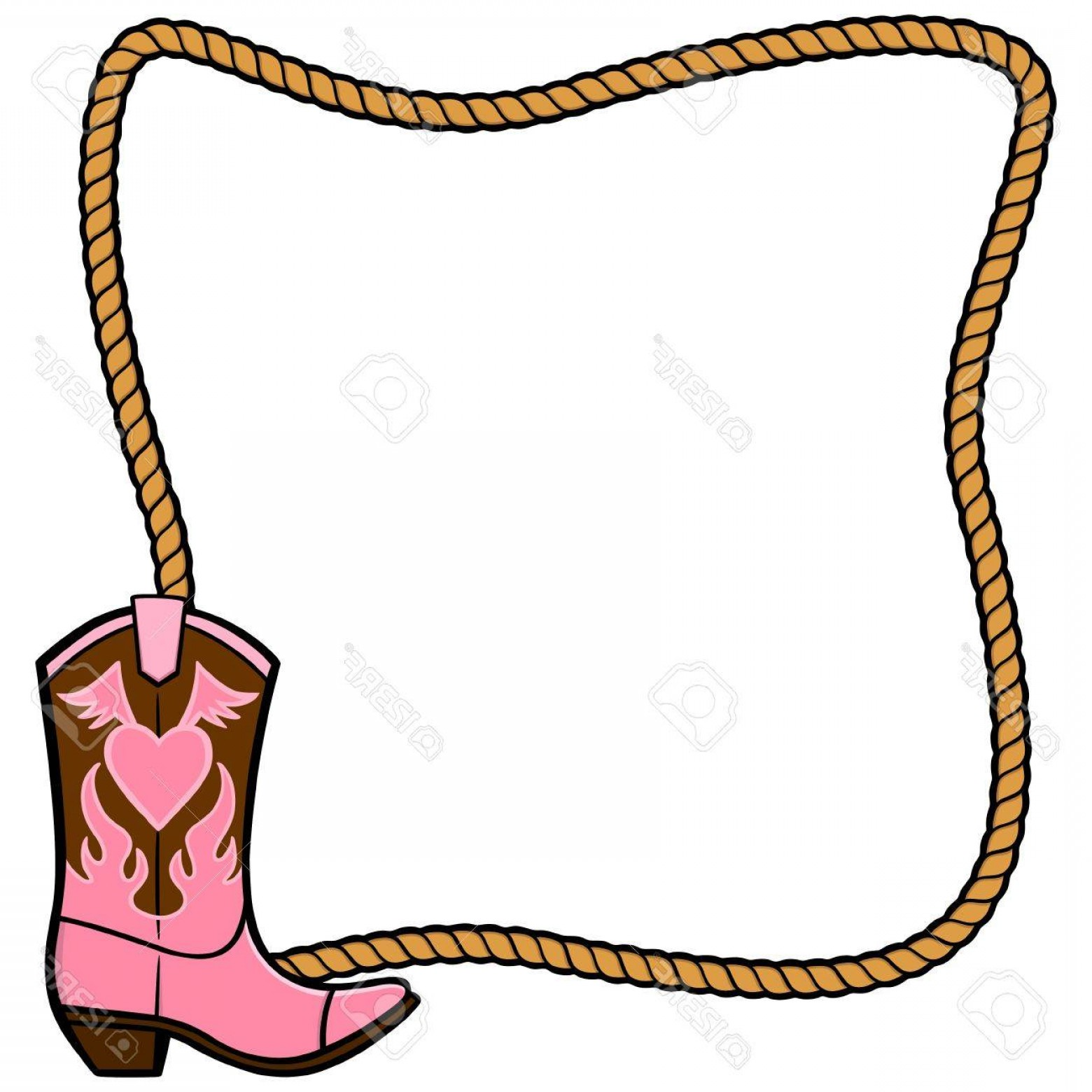 Two Cowgirl Boots Vector: Photostock Vector Rope Frame And Cowgirl Boot