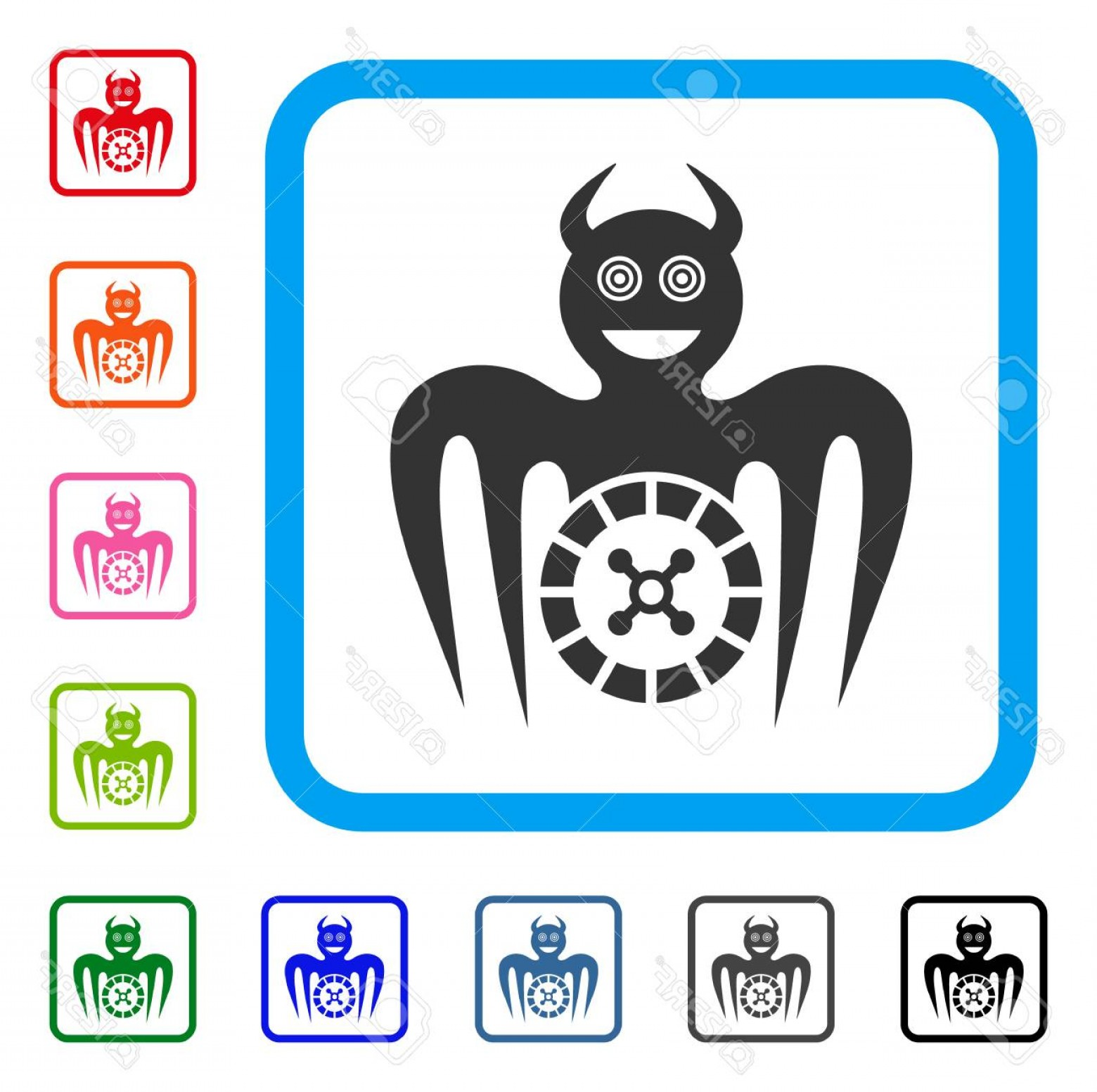 Mad Vector: Photostock Vector Roulette Mad Spectre Devil Icon Flat Gray Iconic Symbol Inside A Blue Rounded Squared Frame Black Gr