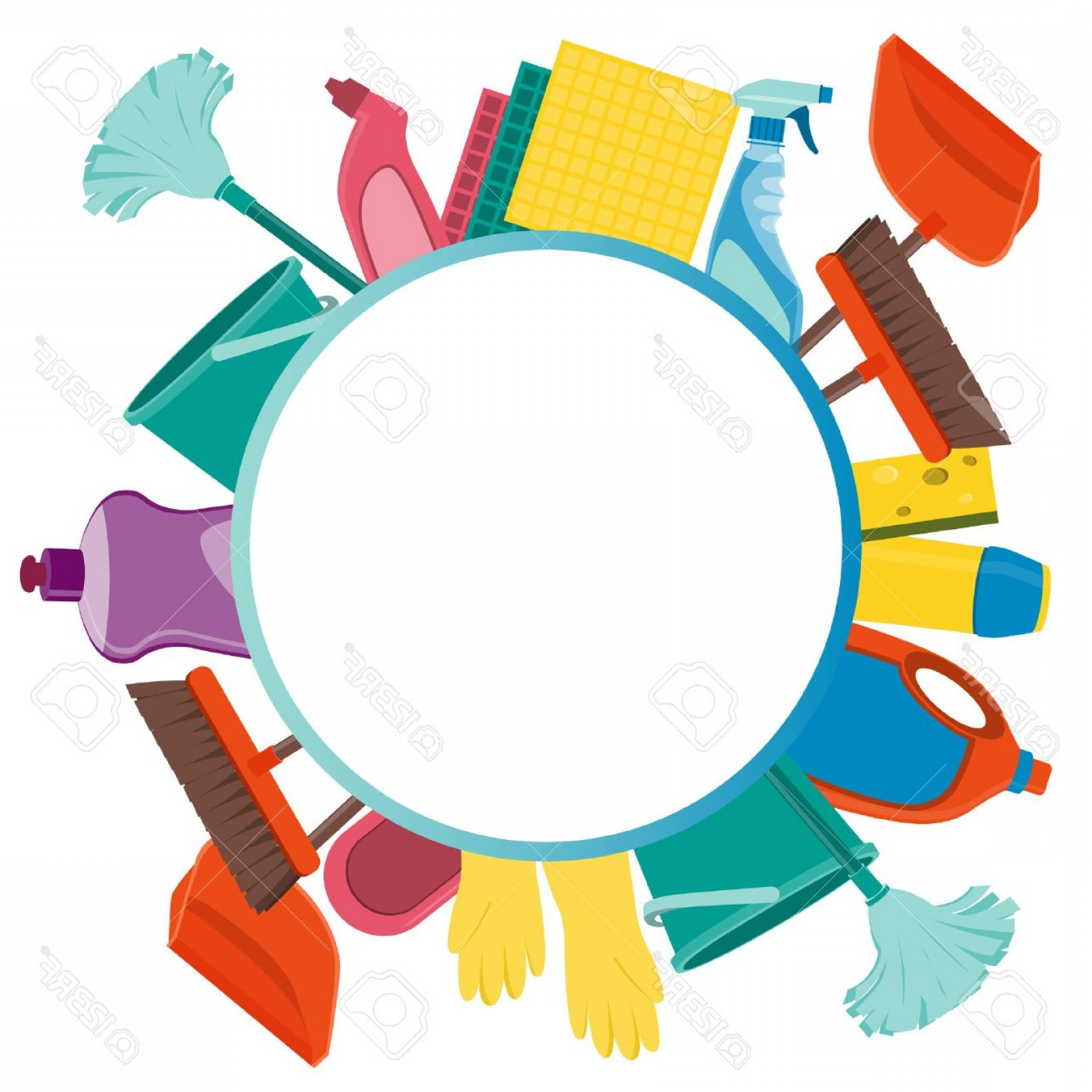 Cleaning Vector Background: Photostock Vector Round Background Tools For Cleaning Vector Illustration