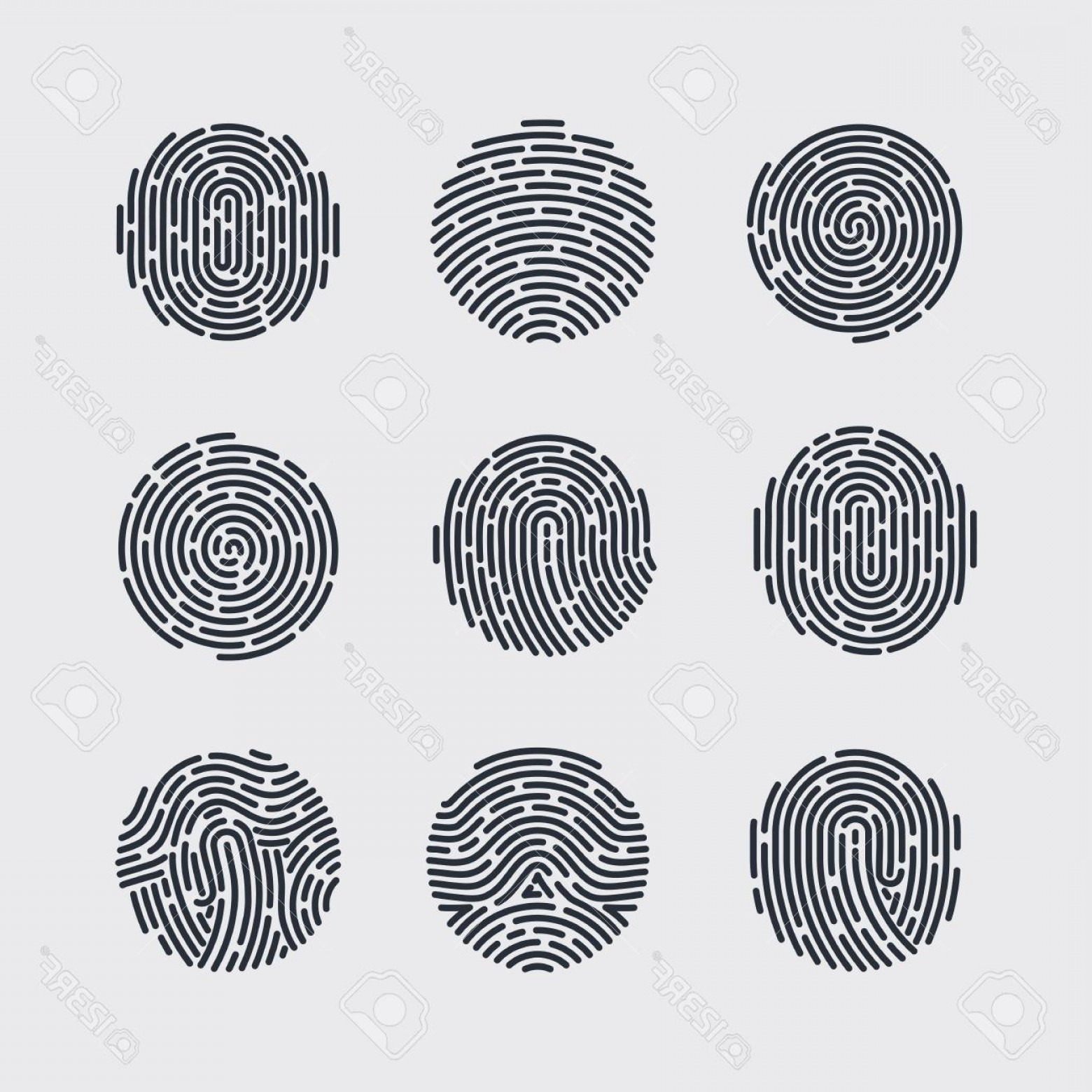 Security Vector Patterns: Photostock Vector Round Fingerprint Patterns For Identity Person Security Id On Gray For Design