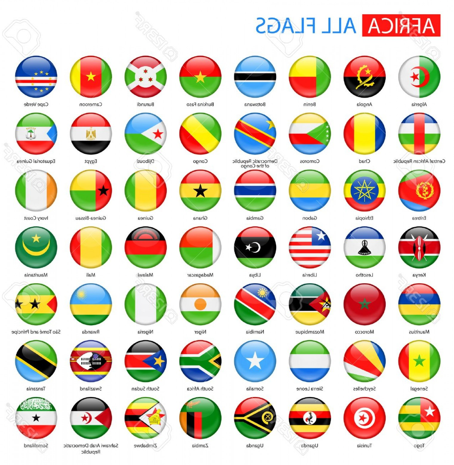 Vector Round Name List: Photostock Vector Round Glossy Flags Of Africa Full Collection Set Of African Flag Buttons