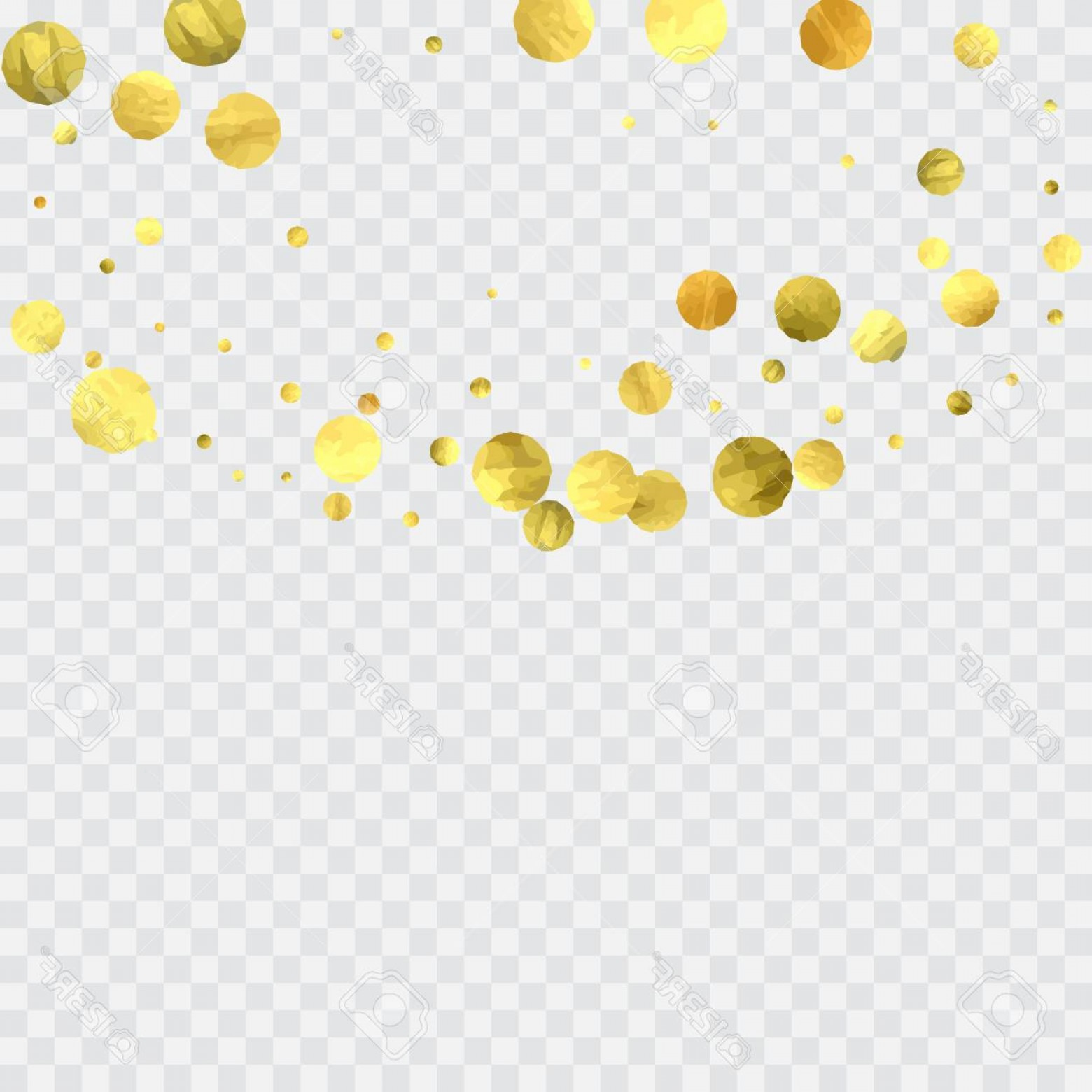 Invite Gold Dots Vector Glittter: Photostock Vector Round Gold Confetti Celebrate Background Watercolor Golden Sparkles And Dots Voucher Backdrop Luxury