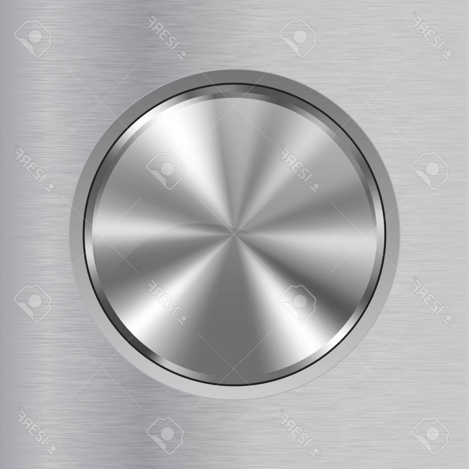 Metal Button Vector: Photostock Vector Round Metal Button On Brushed Background