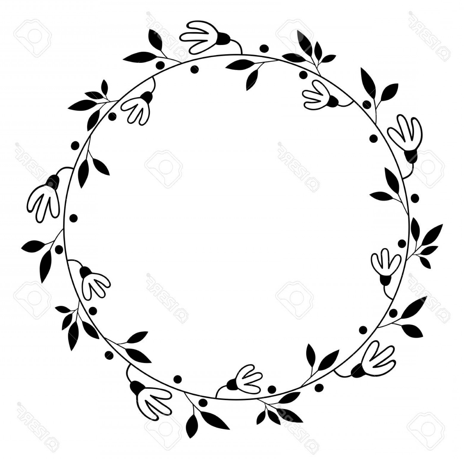 Vector Flower Wreaths In Black: Photostock Vector Round Vector Floral Wreath Black Flower Border For Wedding Invitations And Graphic Design