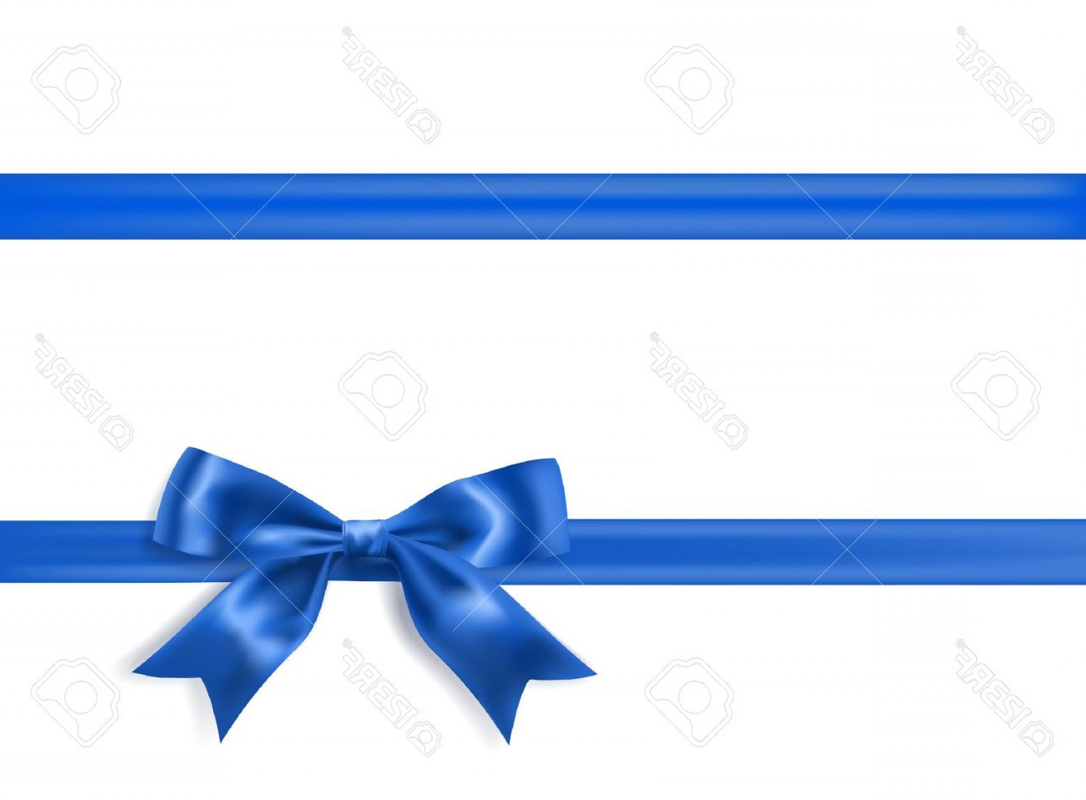 Blue With White Background Vector: Photostock Vector Royal Blue Silky Bow And Ribbon Border On White Background Vector
