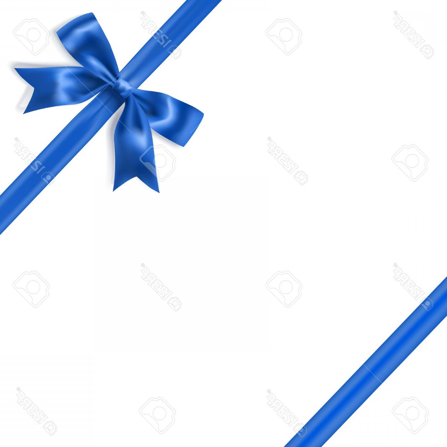 Blue With White Background Vector: Photostock Vector Royal Blue Silky Bow And Ribbon Corner On White Background Vector