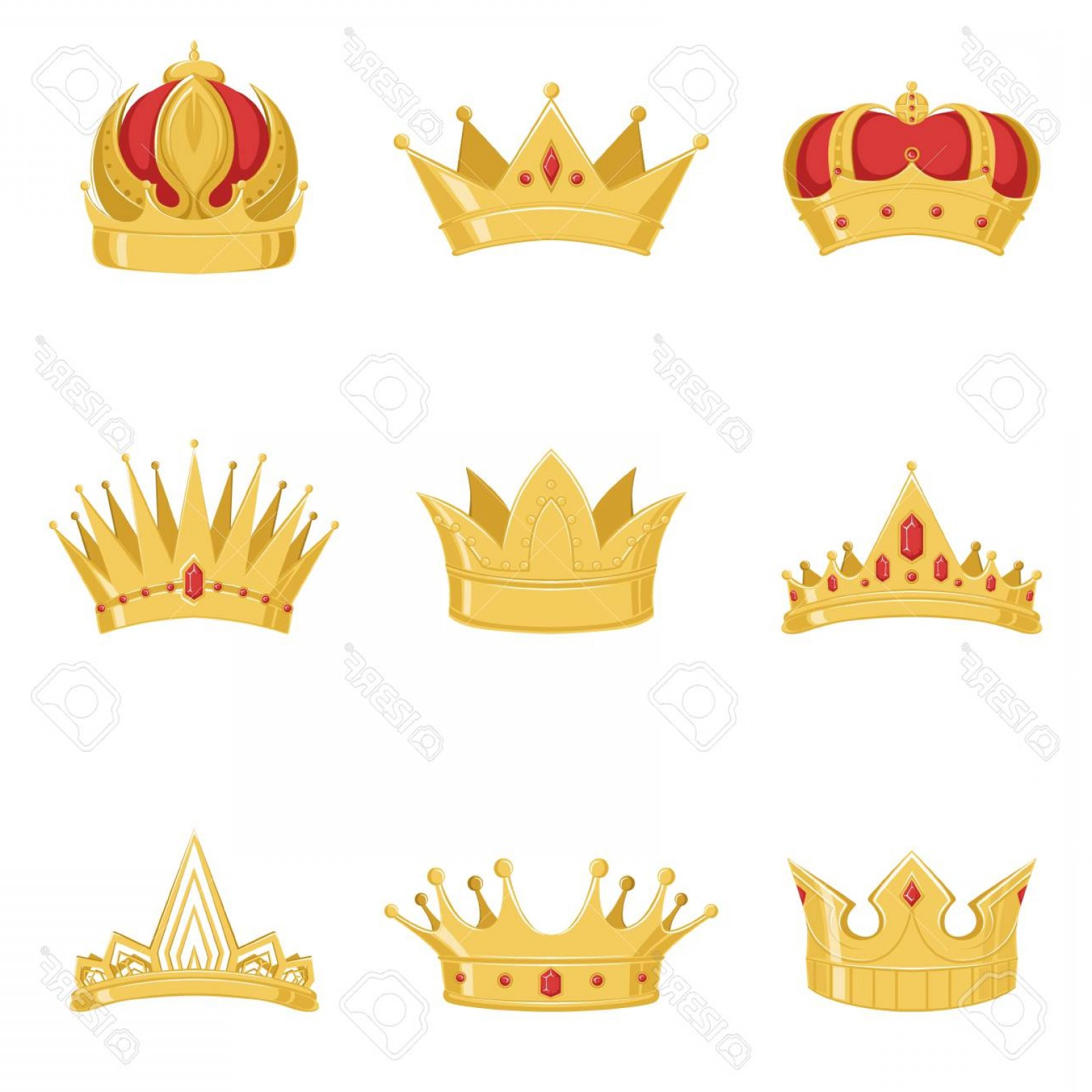 King And Queen Vector: Photostock Vector Royal Golden Crowns Set Symbols Of Power Of The King And Queen Vector Illustrations On A White Backg