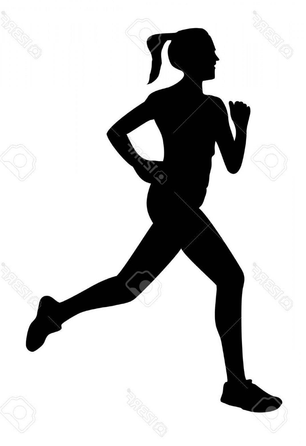 Vector Silhouette Of Girl Running Track: Photostock Vector Running Jogging Woman Silhouette