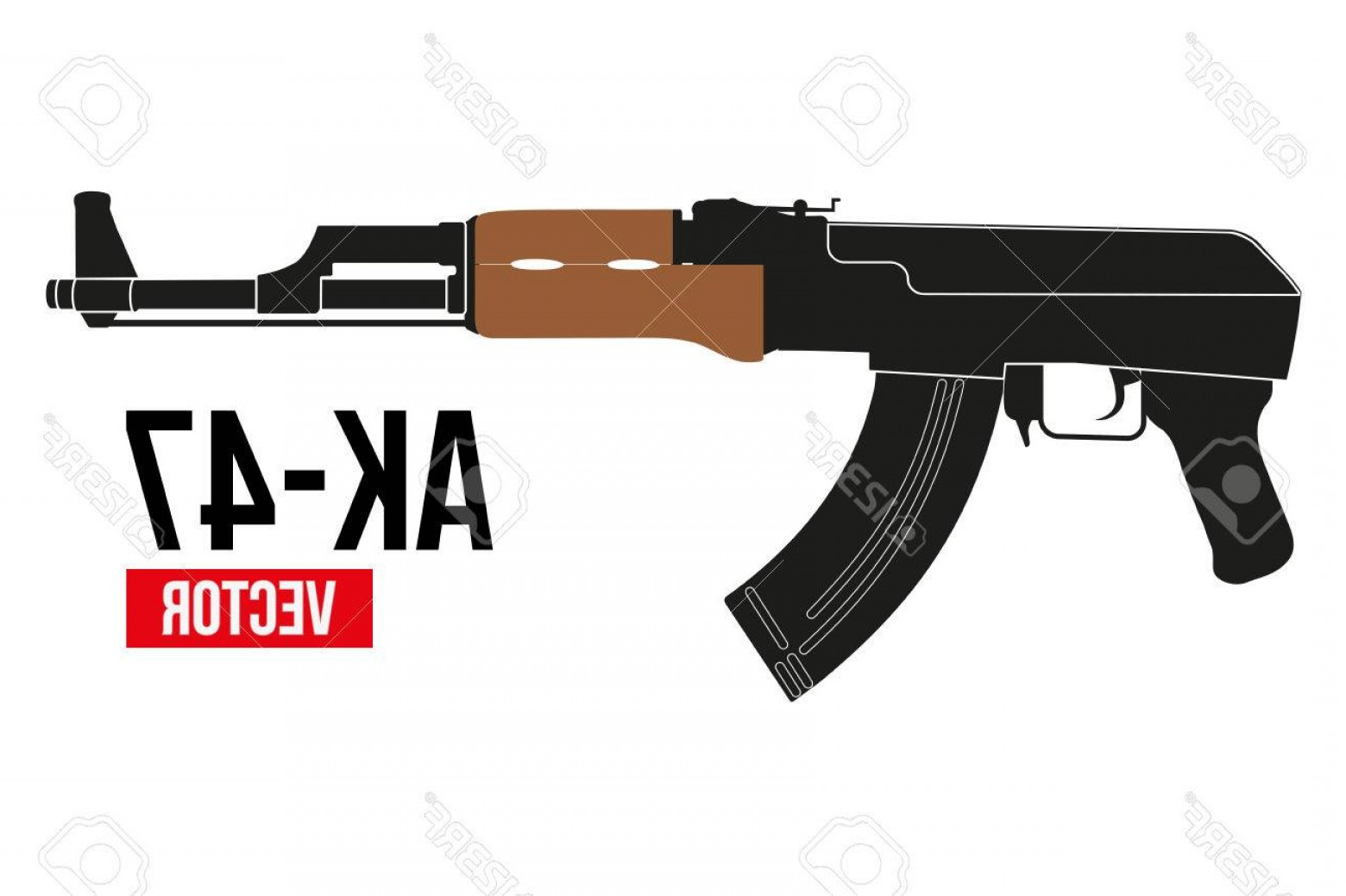 AK-47 Gun Vector: Photostock Vector Russian Automatic Machine Rifle Ak In Flat Silhouette Style Vector Illustration Isolated On White