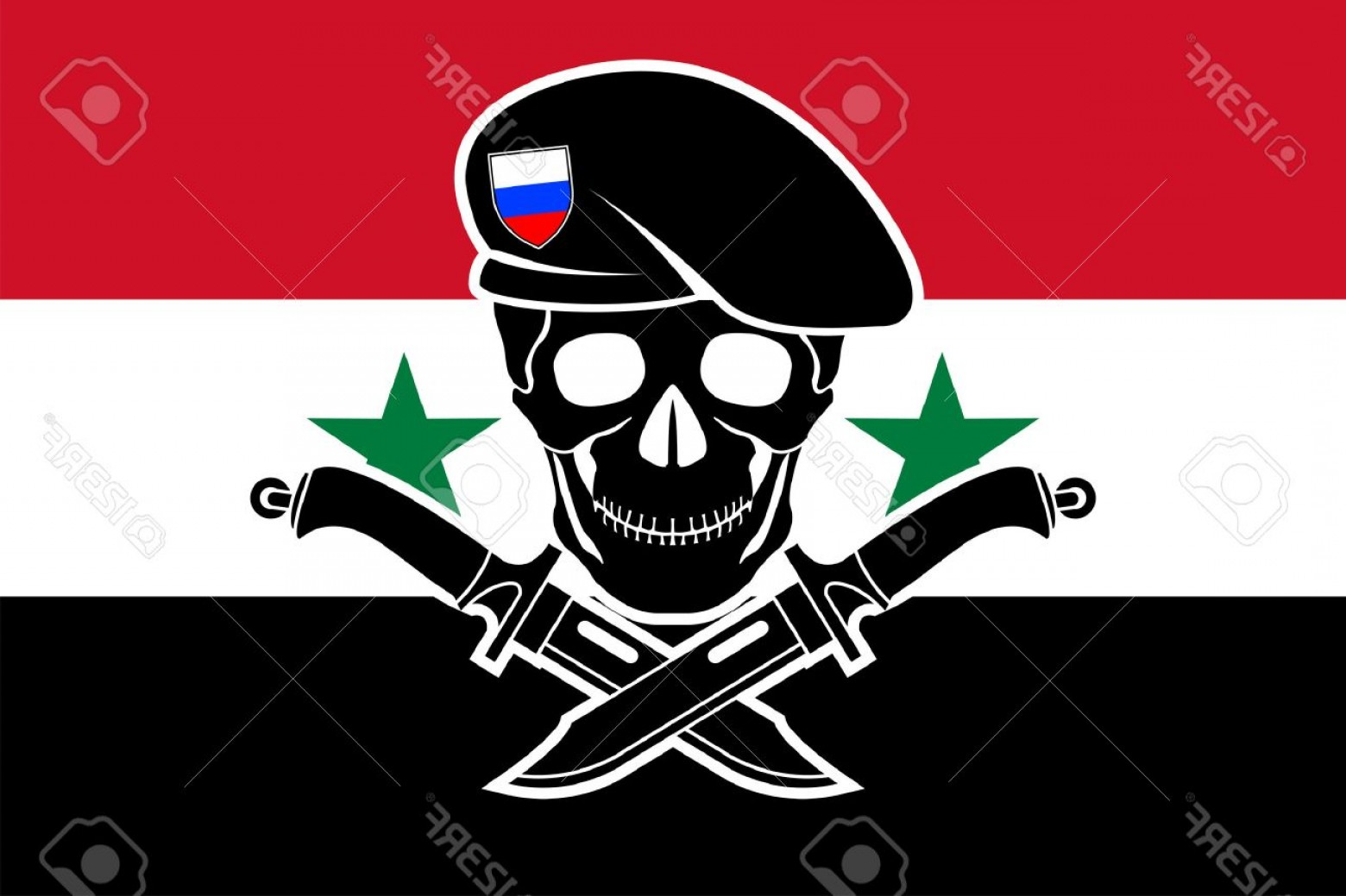 Vector Special Forces Helmet: Photostock Vector Russian Special Forces And Syrian Flag Vector Illustration