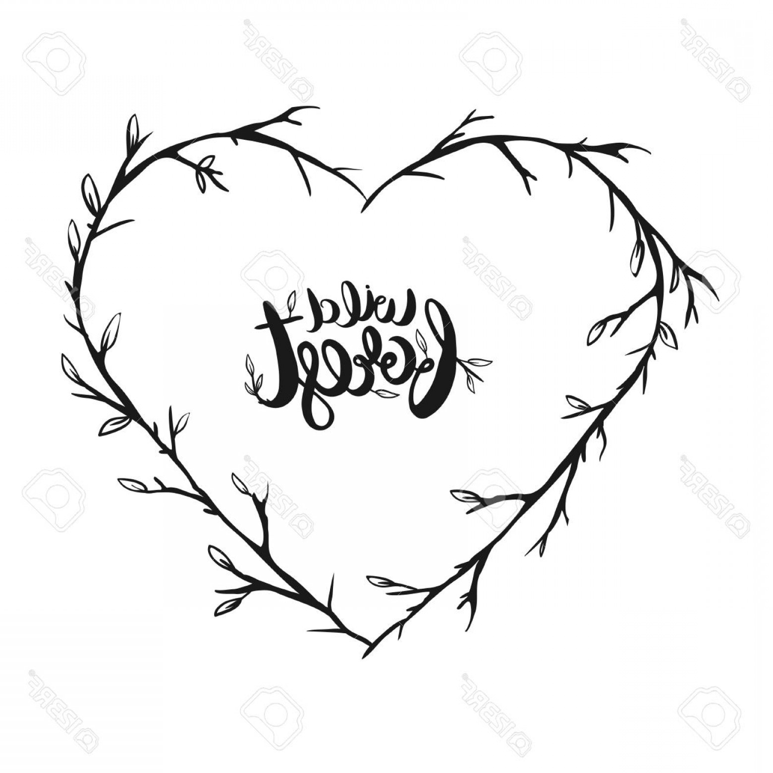Rustic Heart Vectors: Photostock Vector Rustic Floral Fores Frame