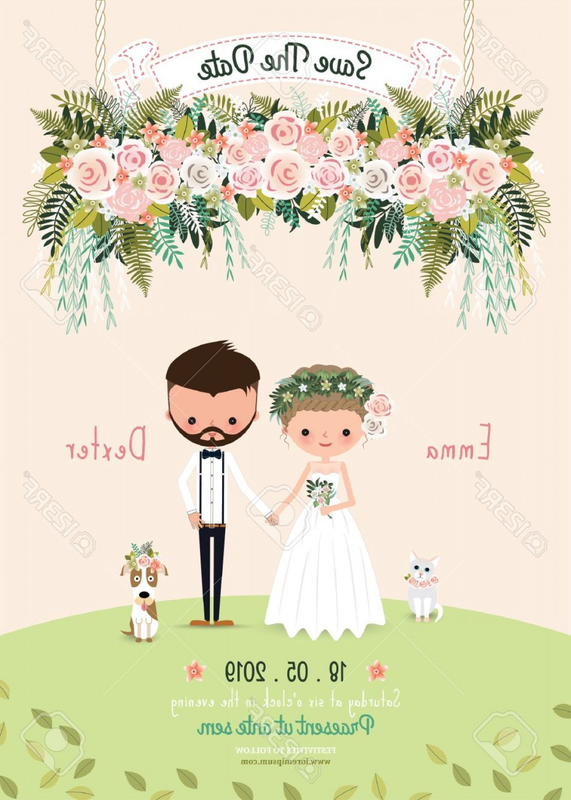 Rustic Wedding Invitation Vector: Photostock Vector Rustic Wedding Couple Save The Date Invitation Card Floral Blossom Bride And Groom With Dog And Cat